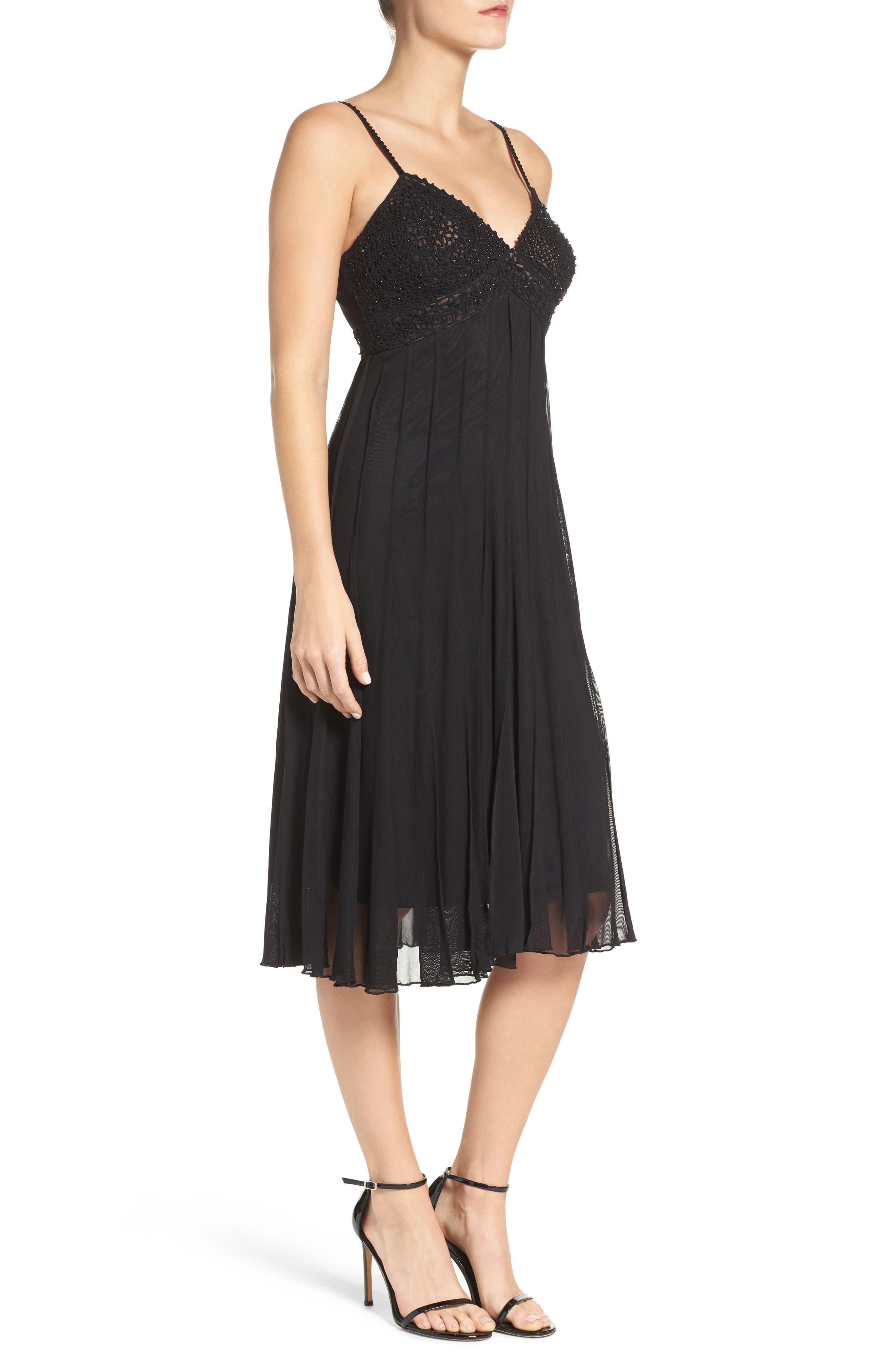 Beaded A-Line Dress,                             Alternate thumbnail 3, color,                             Black