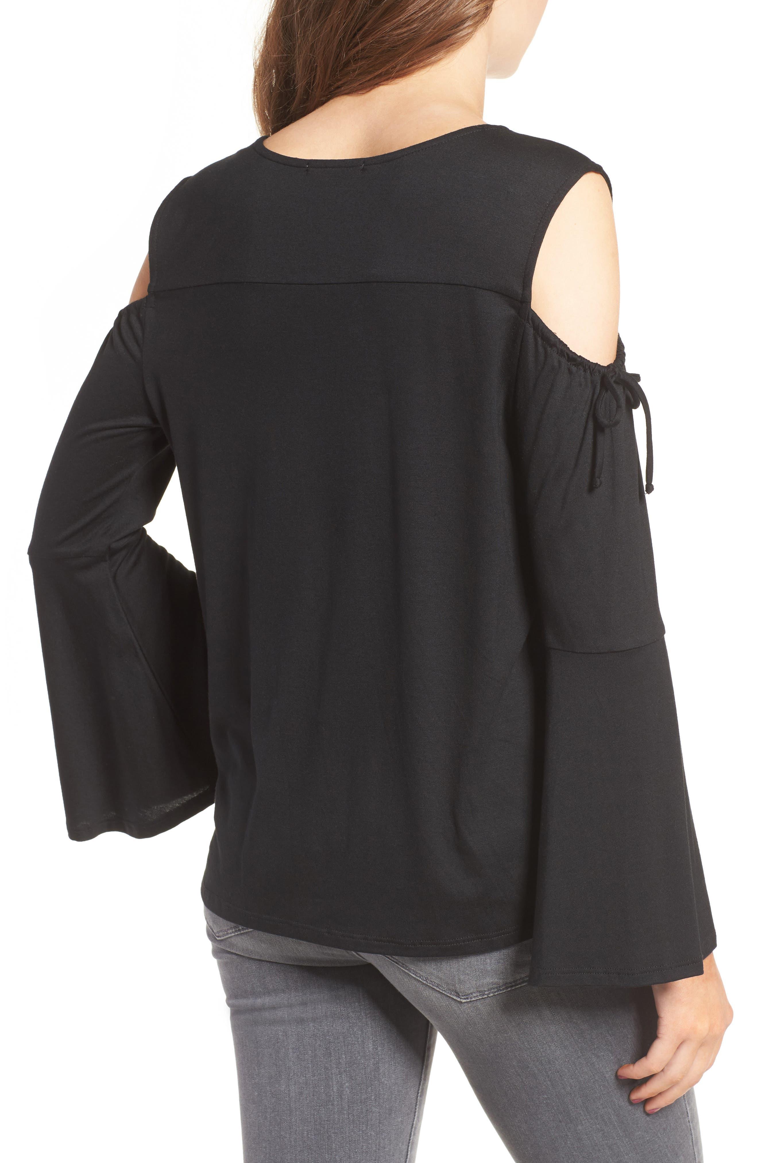 Alternate Image 2  - Ella Moss Bella Bell Sleeve Cold Shoulder Top