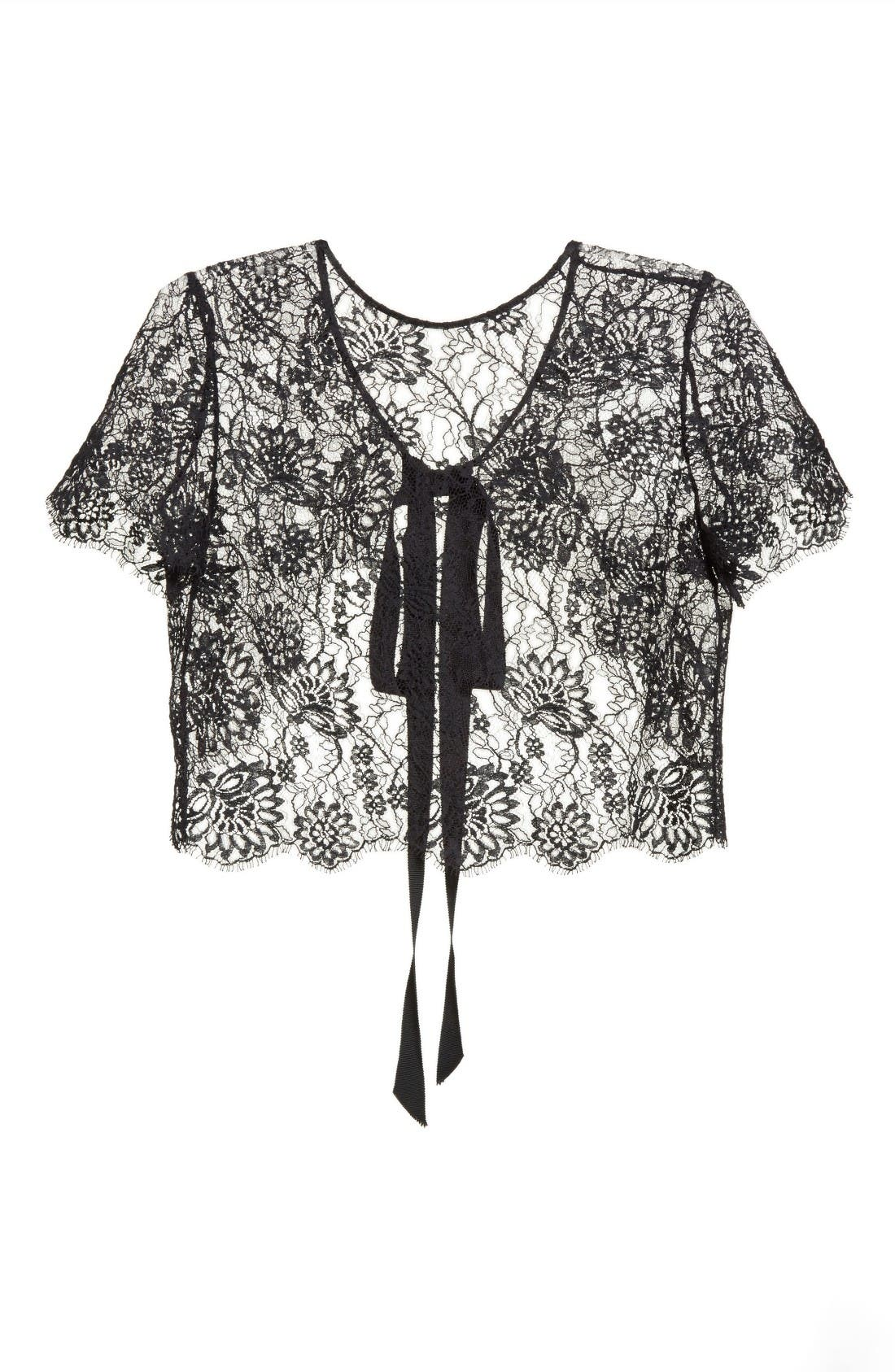 Alternate Image 4  - Oscar de la Renta Tie Back Lace Bolero