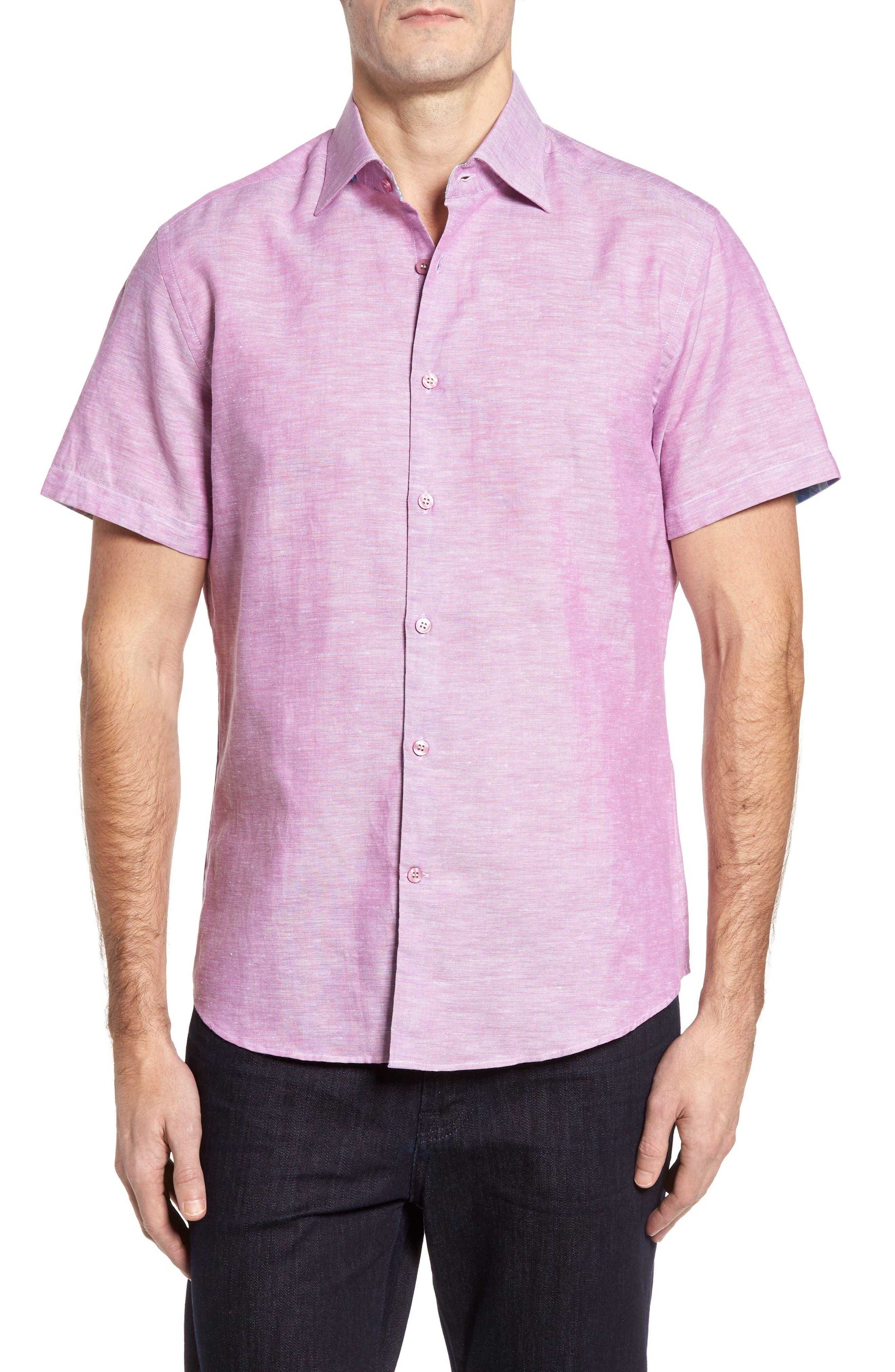 Stone Rose Trim Fit Linen Blend Sport Shirt