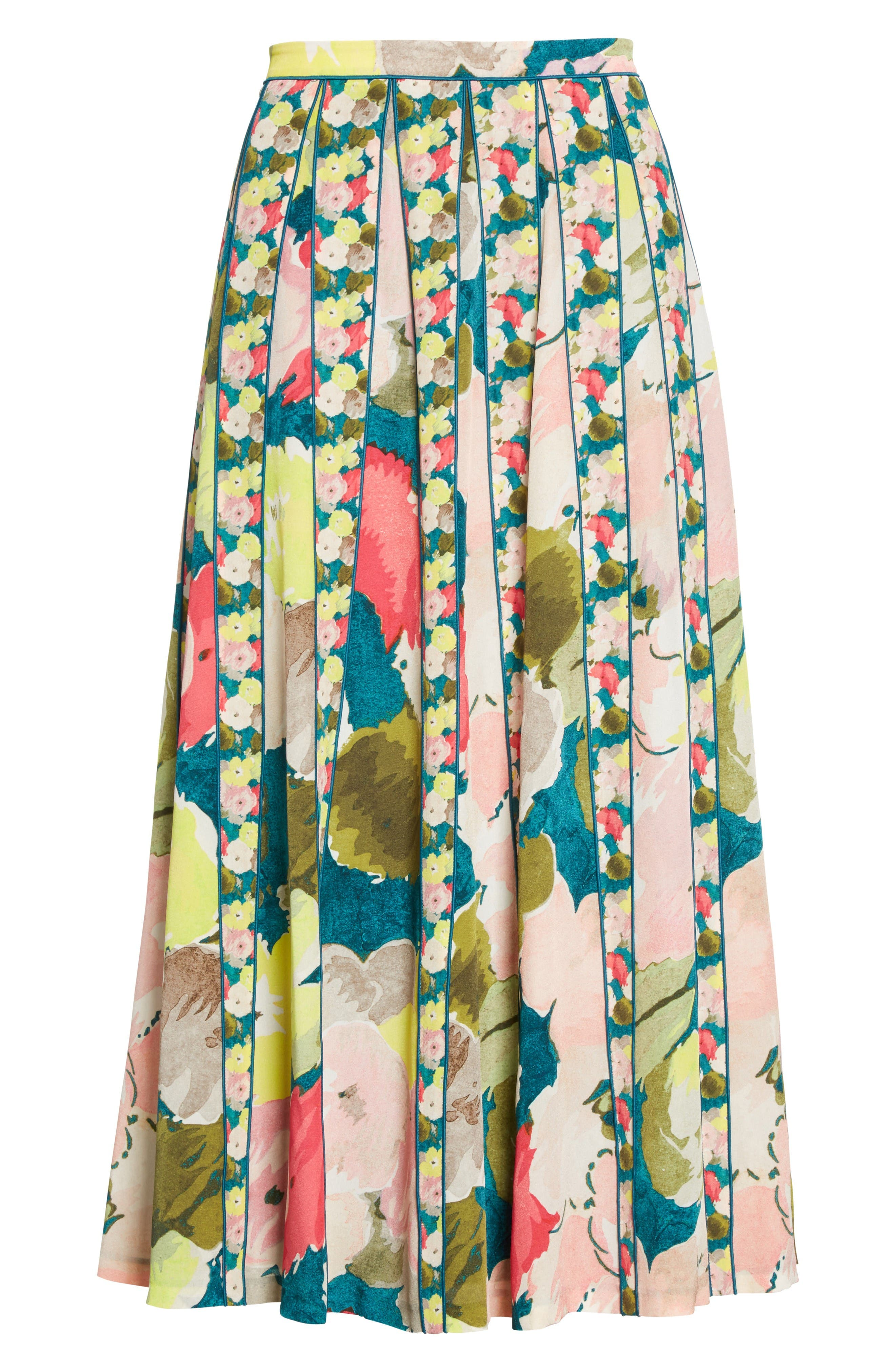 Alternate Image 4  - Lafayette 148 New York Adalia Pleated Floral Silk Skirt