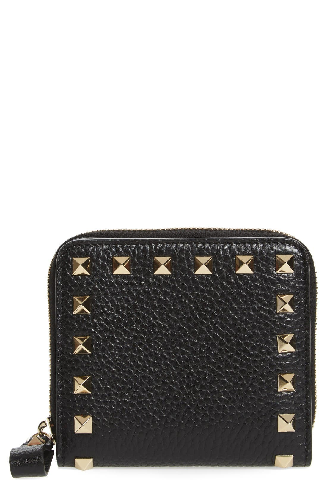 VALENTINO GARAVANI Rockstud Lambskin Leather Zip Around Wallet