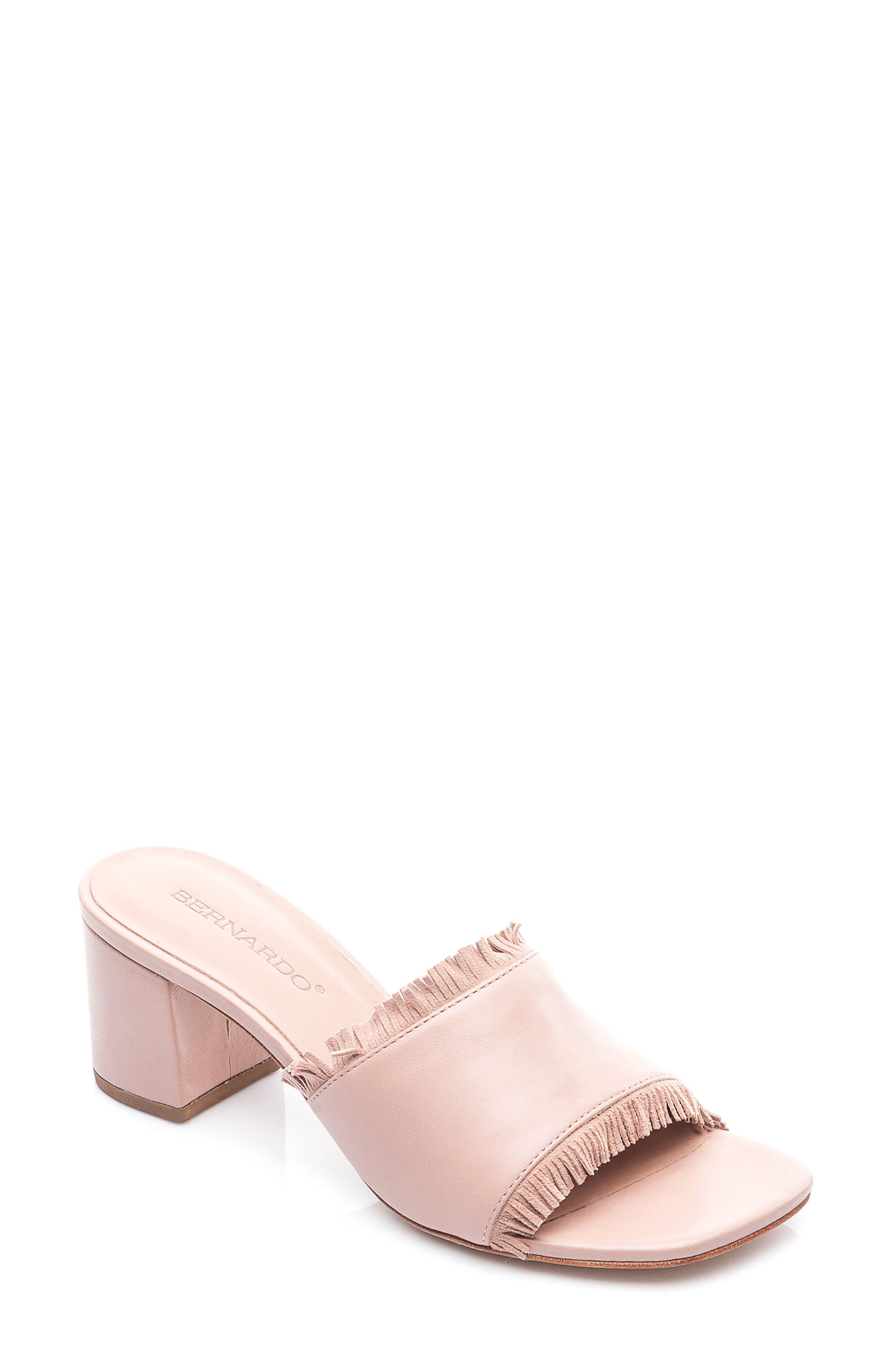 Bernardo Blossom Slide Sandal,                             Main thumbnail 1, color,                             Blush Leather