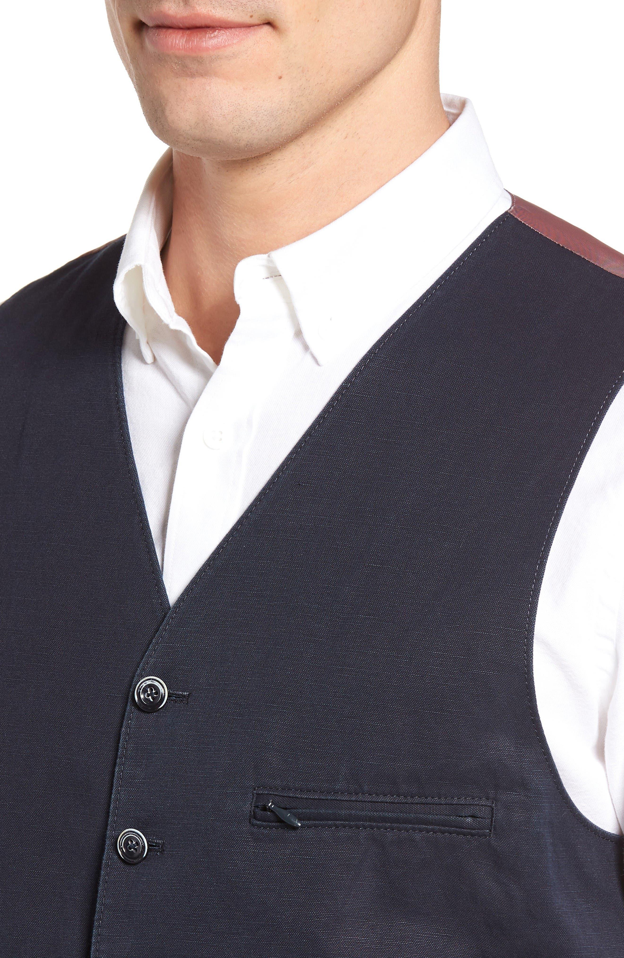 Hootie Solid Cotton & Linen Vest,                             Alternate thumbnail 4, color,                             Navy