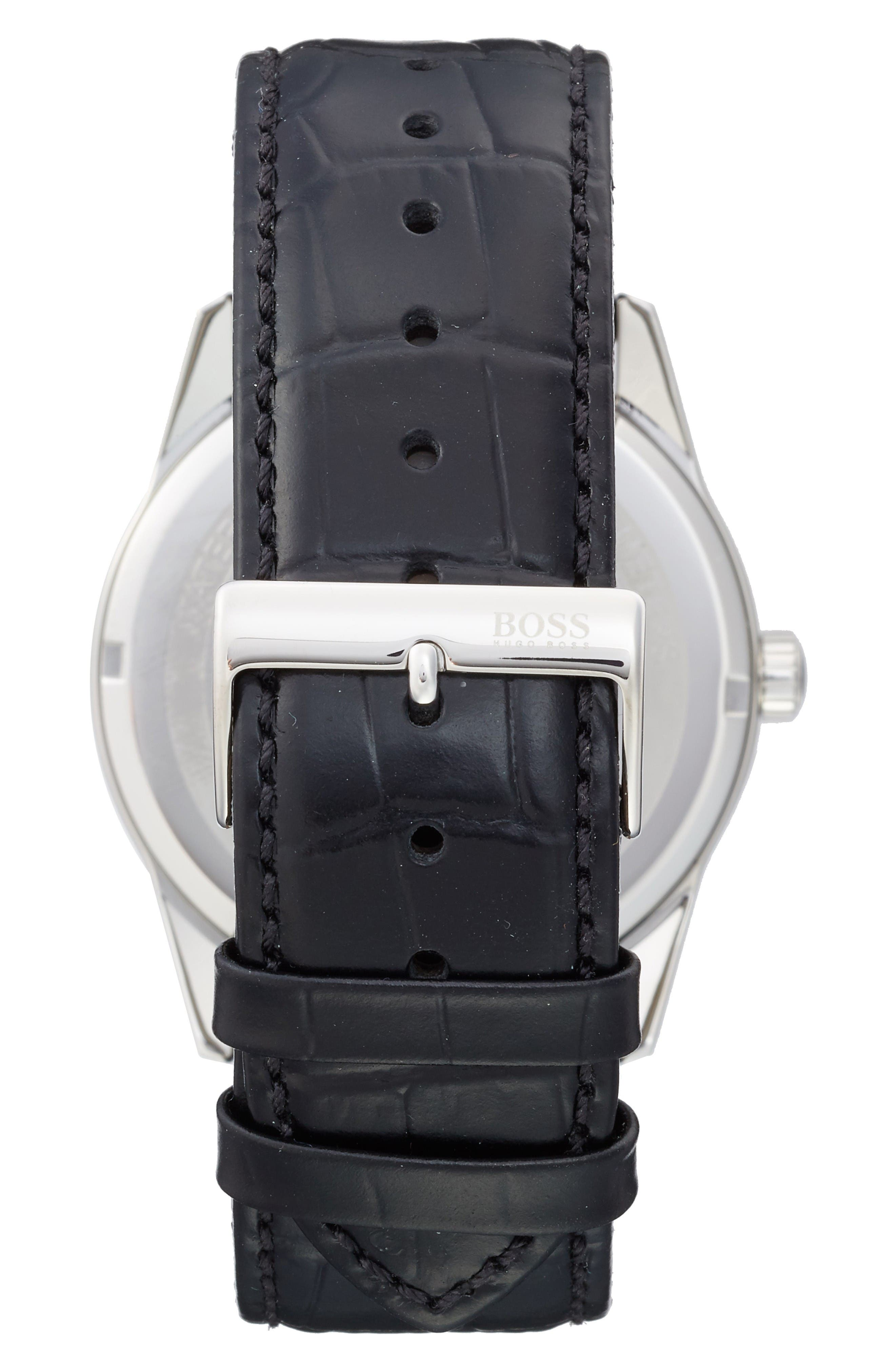Alternate Image 2  - BOSS Heritage Chronograph Leather Strap Watch, 43mm
