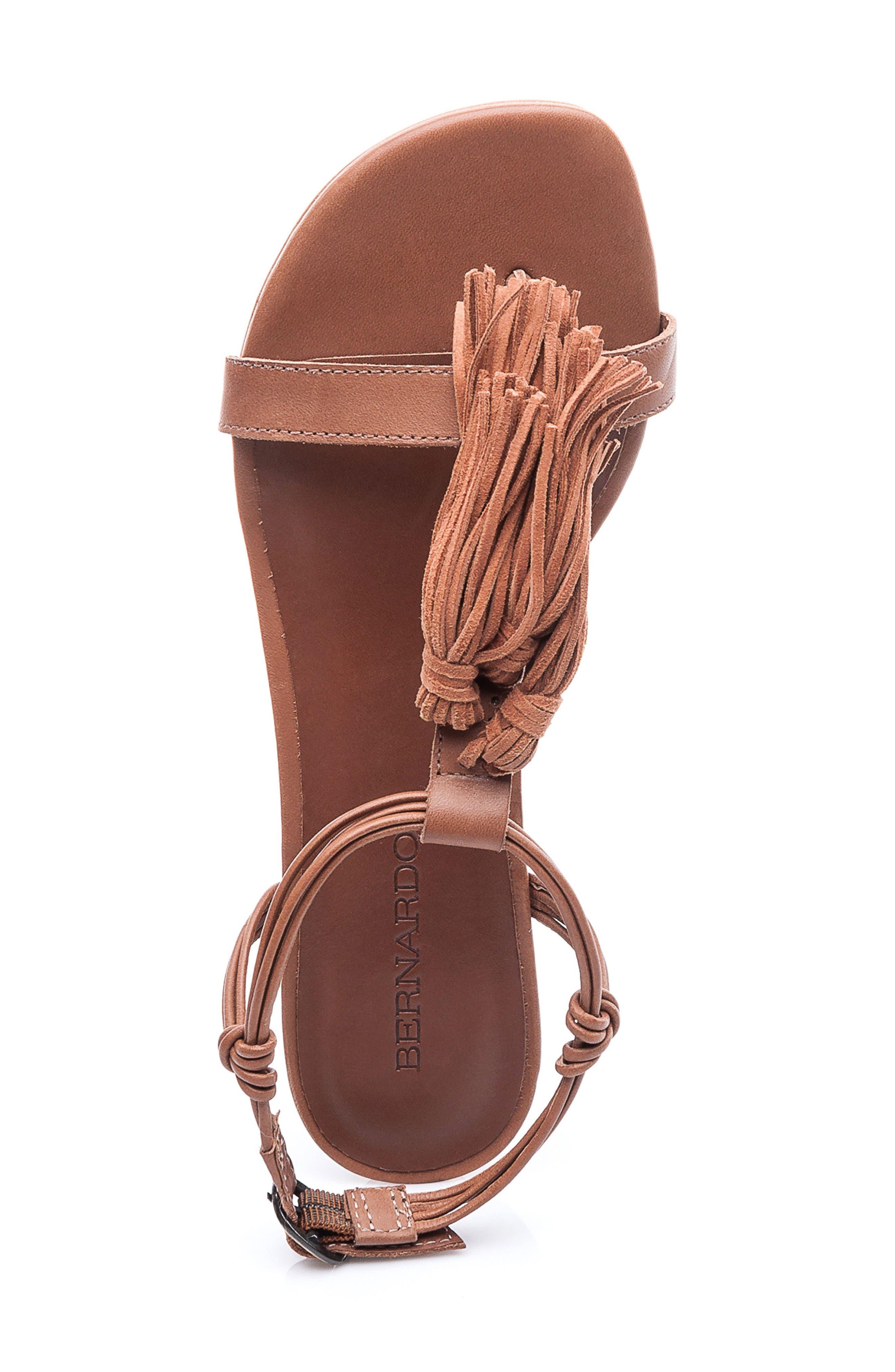 Footwear Court Fringe Leather Sandal,                             Alternate thumbnail 3, color,                             Luggage Leather
