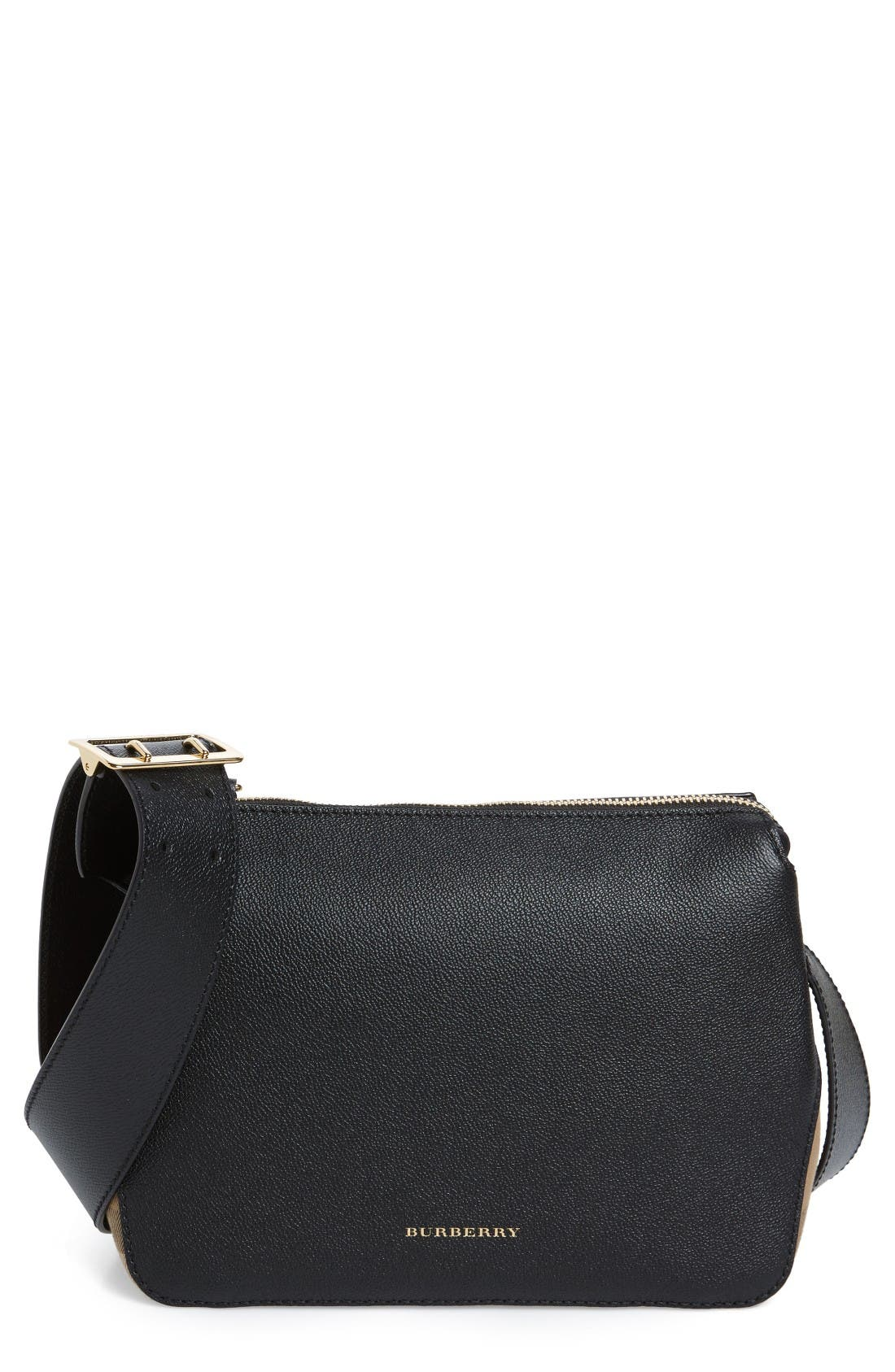 Main Image - Burberry Helmsley House Check Leather Crossbody Bag