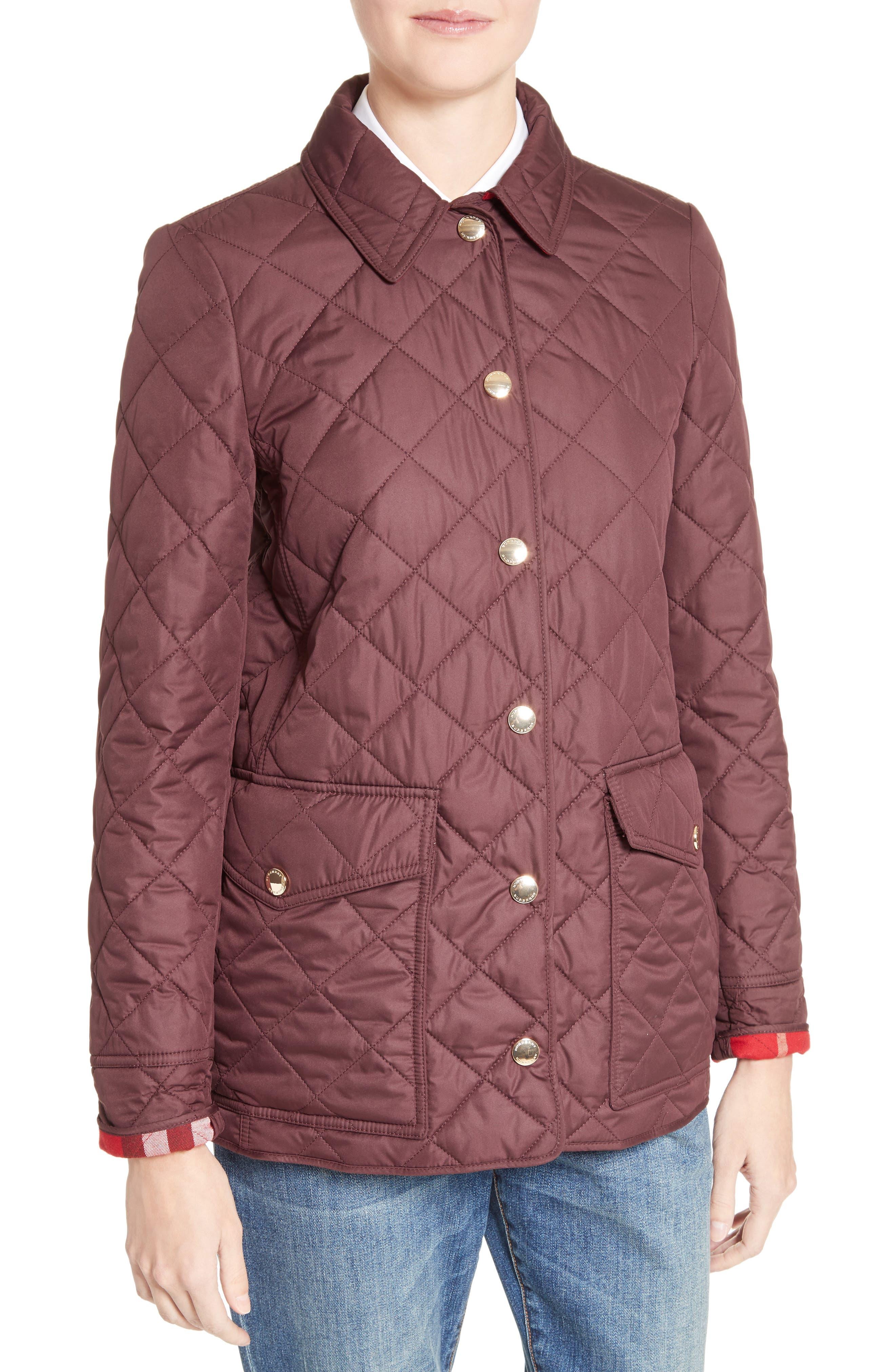 Westbridge Quilted Jacket,                             Alternate thumbnail 6, color,                             Burgundy