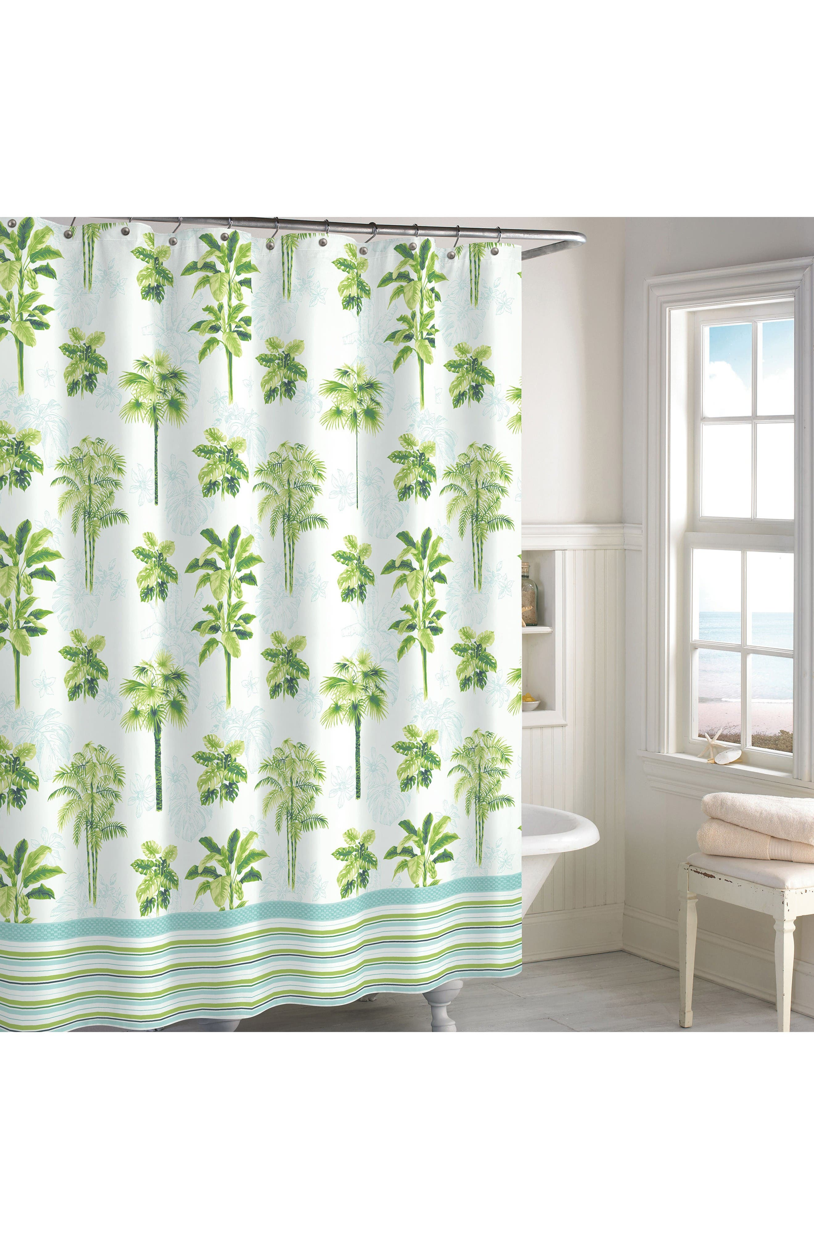 Tropical Palm Shower Curtain,                             Main thumbnail 1, color,                             Green