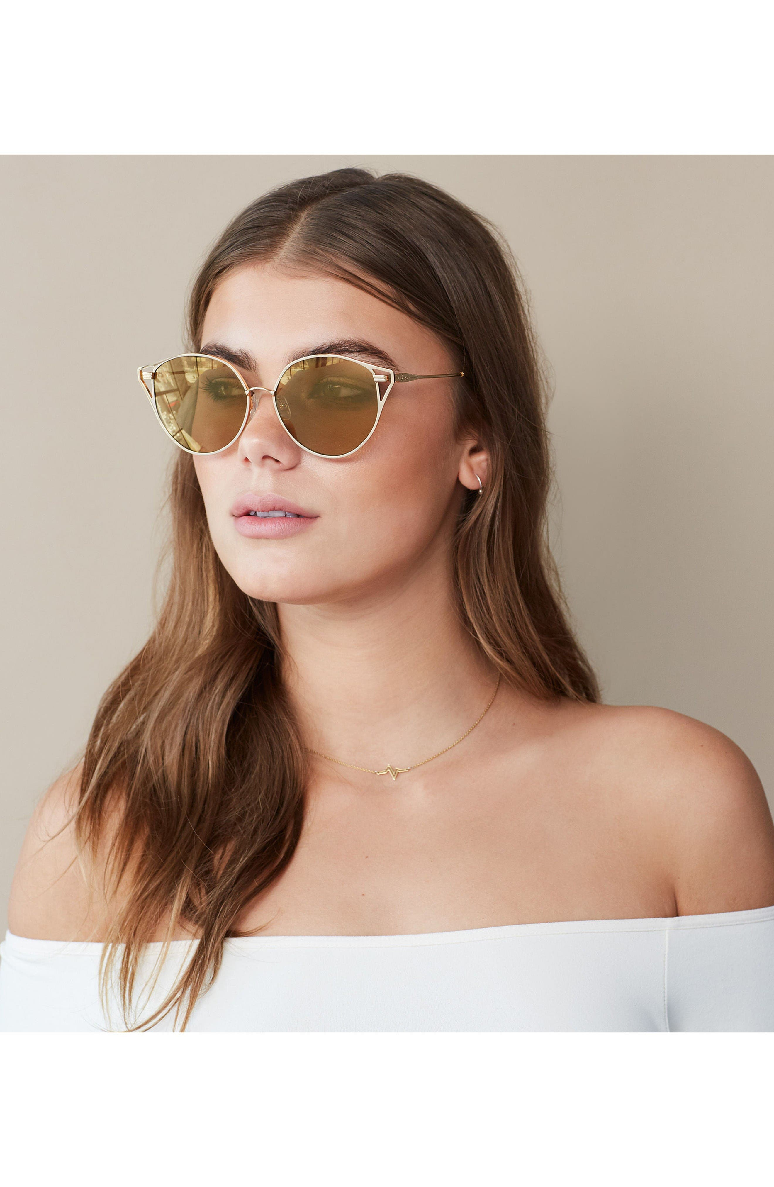 Ibiza 55mm Cat Eye Sunglasses,                             Alternate thumbnail 3, color,                             Gold Wire/ Amber Mirror