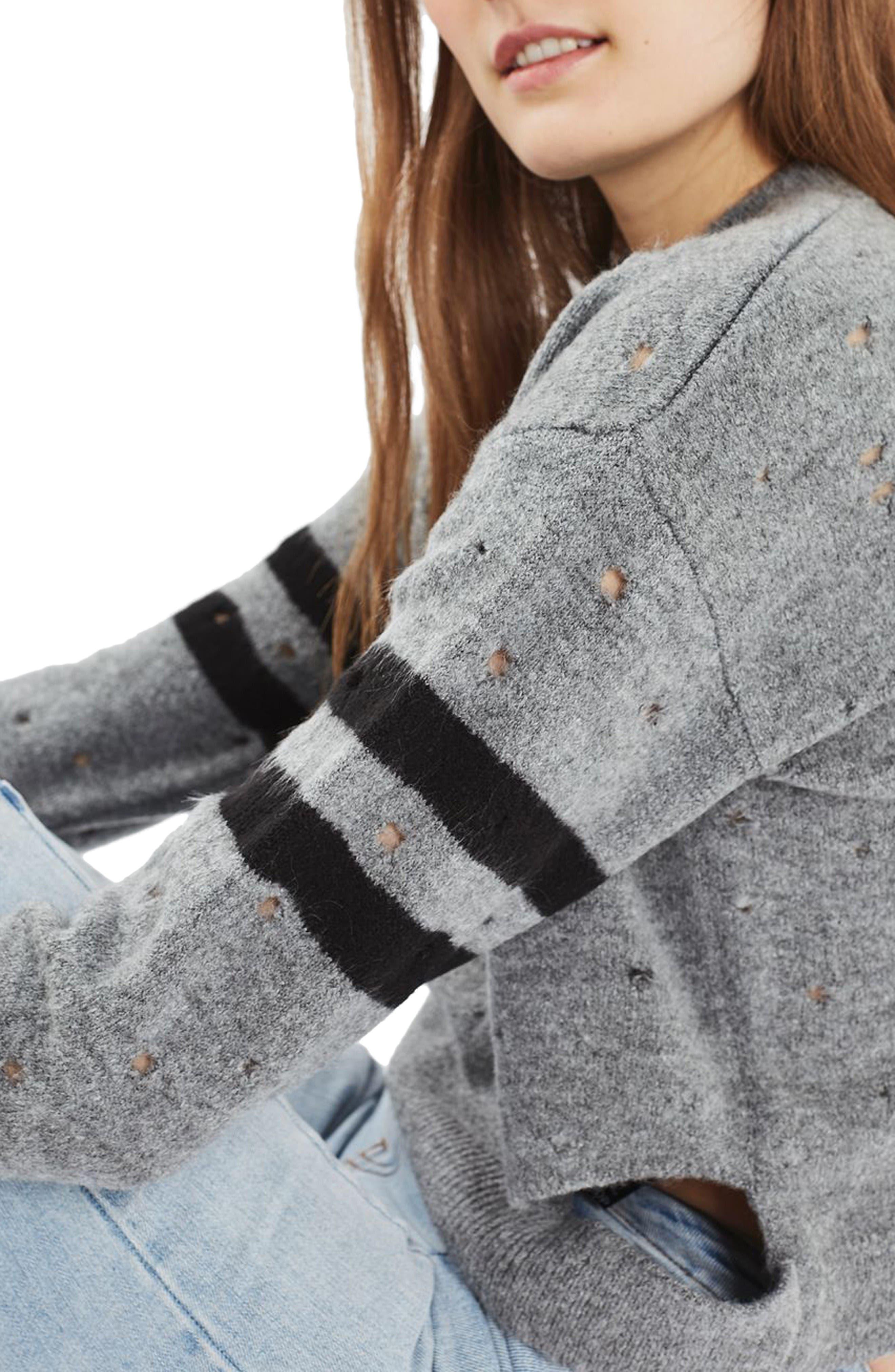 Alternate Image 5  - Topshop Nibbled Stripe Sweater