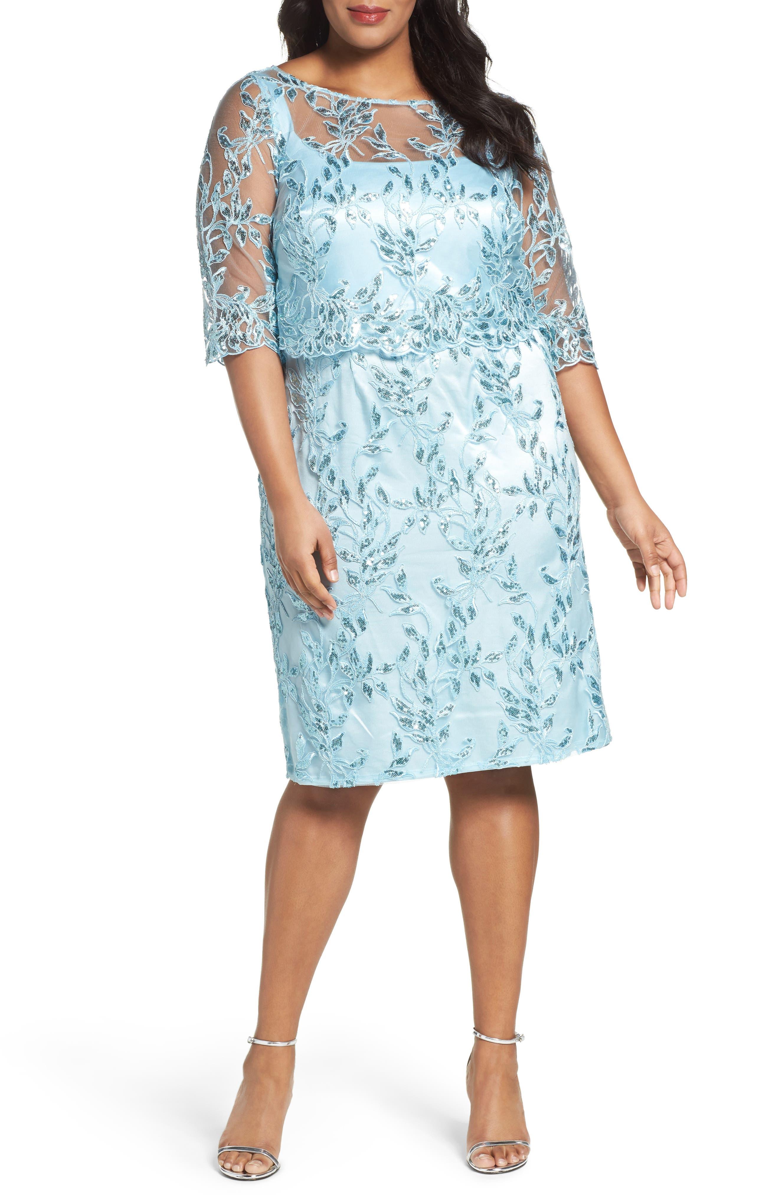 Embellished Embroidered Popover Dress,                         Main,                         color, Ice Blue