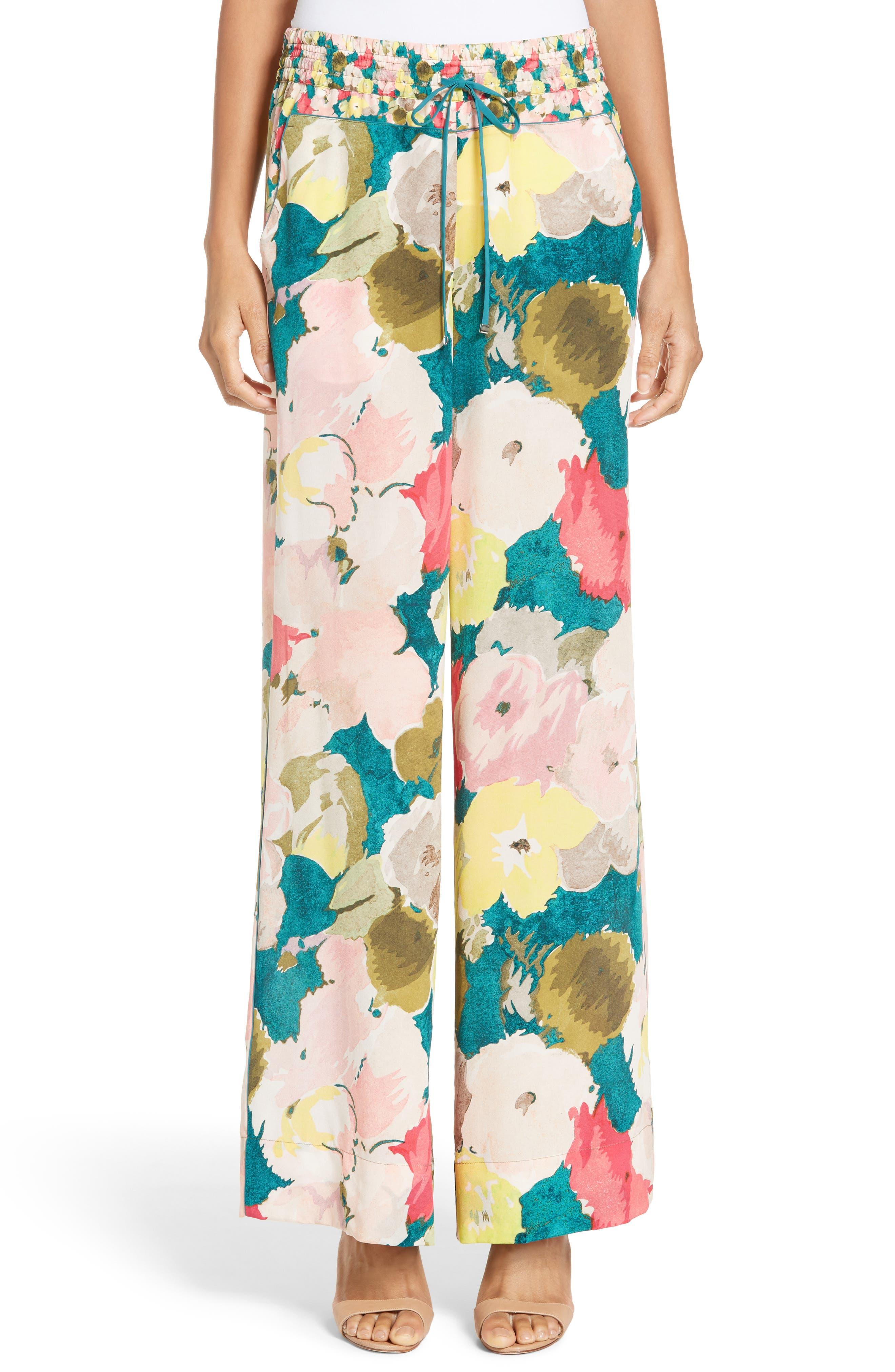 Alternate Image 1 Selected - Lafayette 148 New York Floral Silk Drawstring Pants