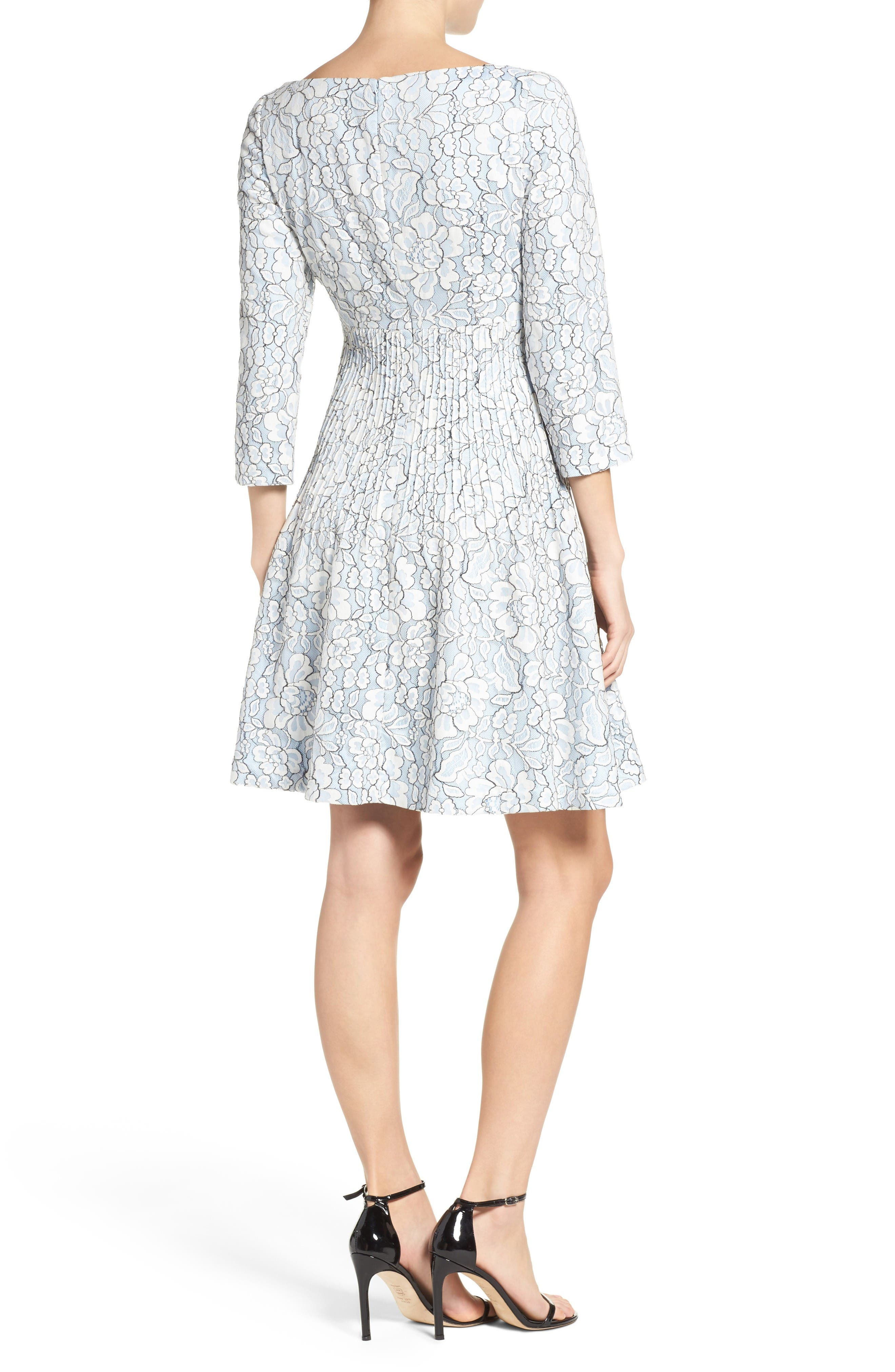 Embroidered Floral Fit & Flare Dress,                             Alternate thumbnail 3, color,                             Ivory/ Blue