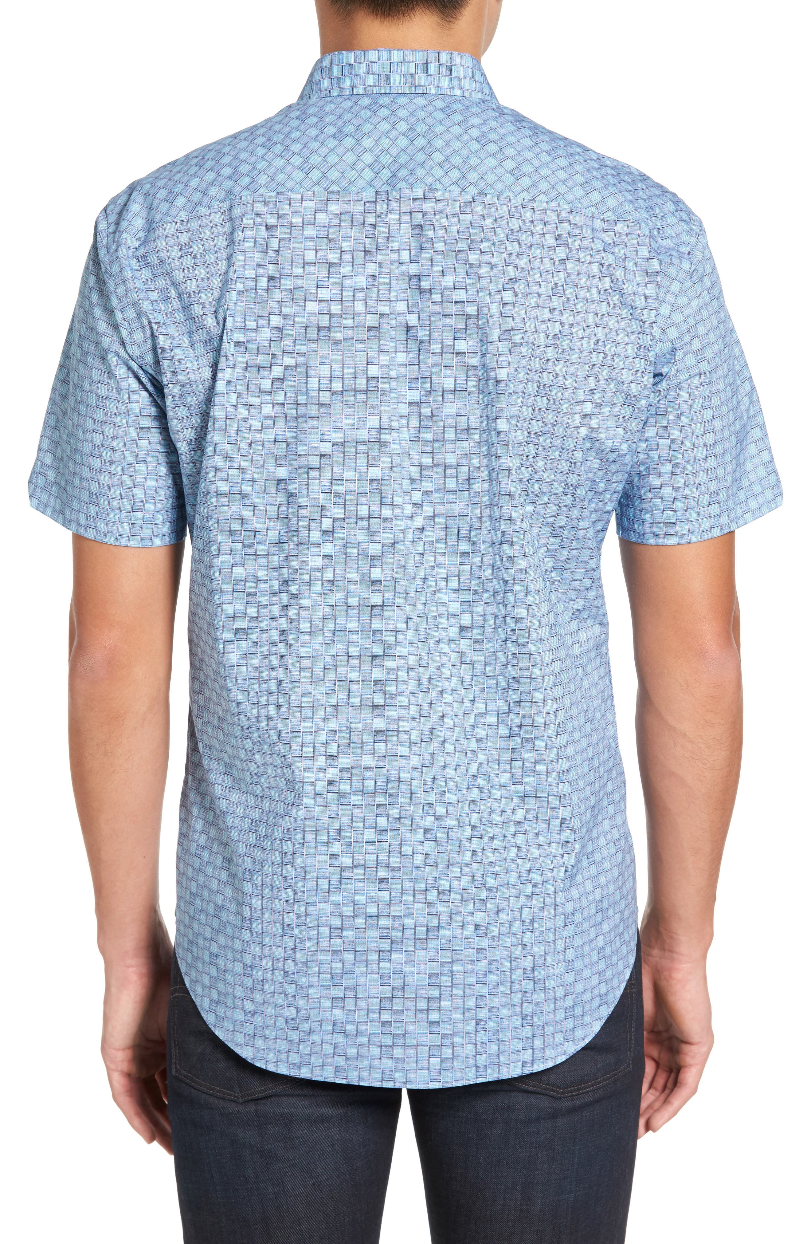 Caringella Check Sport Shirt,                             Alternate thumbnail 3, color,                             Turquoise