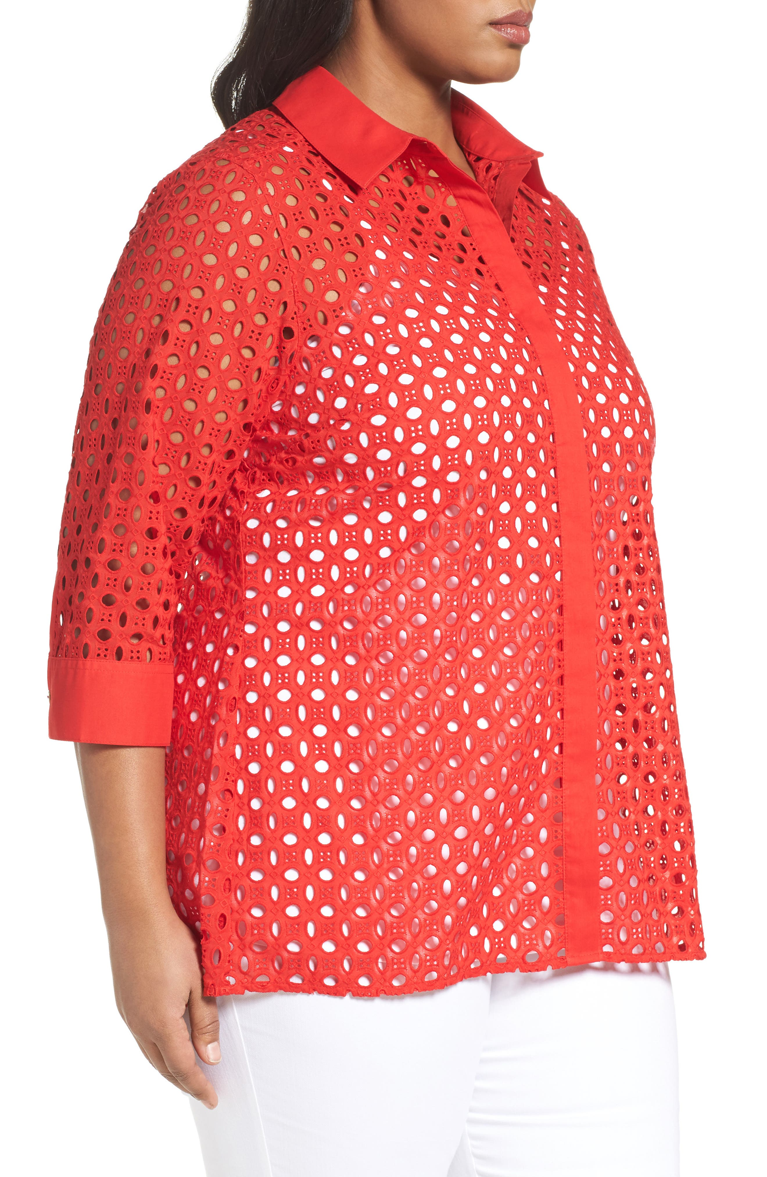 Alternate Image 3  - Foxcroft Eyelet Cotton Tunic (Plus Size)