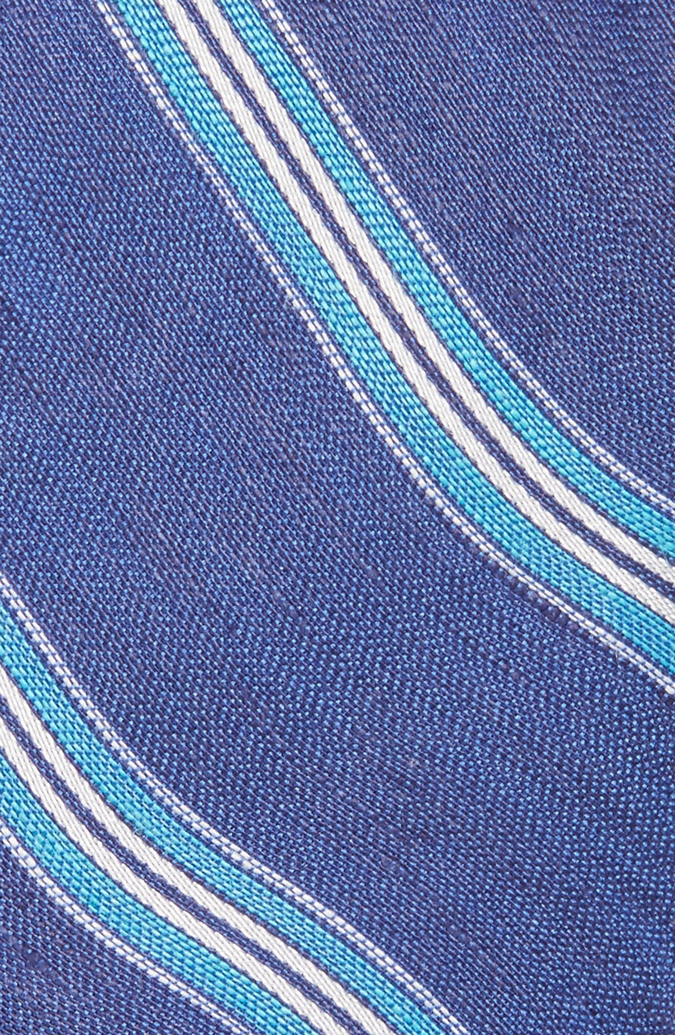 Stripe Linen & Silk Tie,                             Alternate thumbnail 2, color,                             Indigo