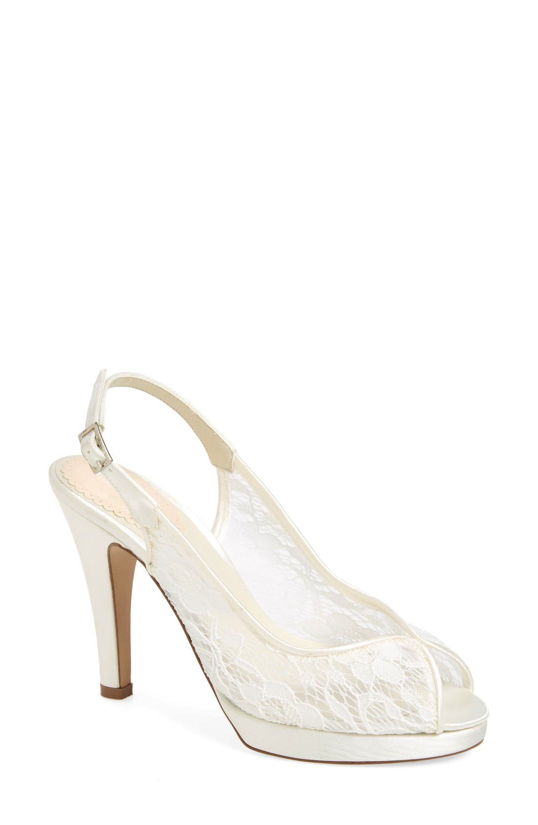 Affinity Lace Open Toe Pump,                             Main thumbnail 1, color,                             Ivory