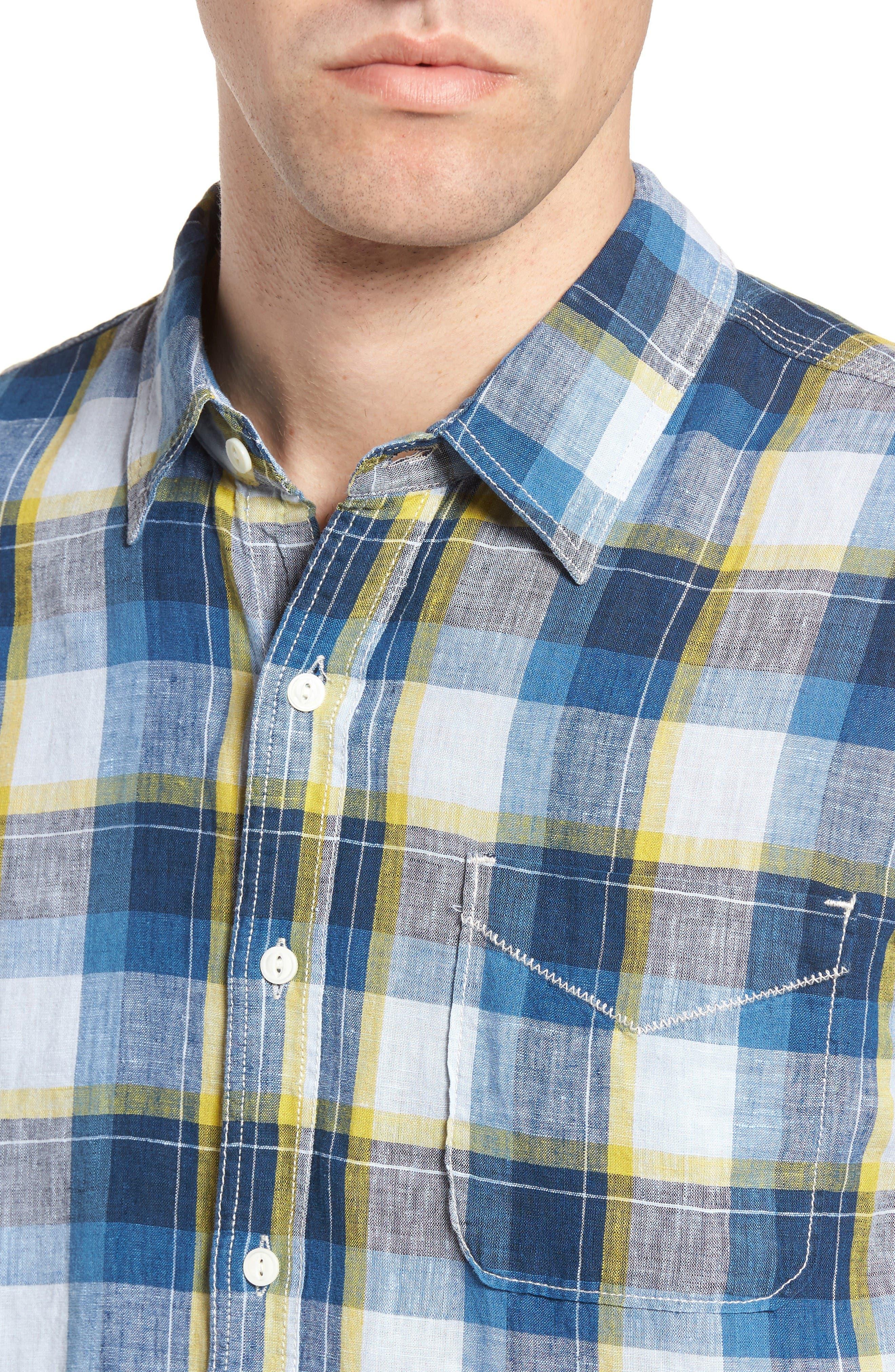 Plaid Sport Shirt,                             Alternate thumbnail 4, color,                             Denim