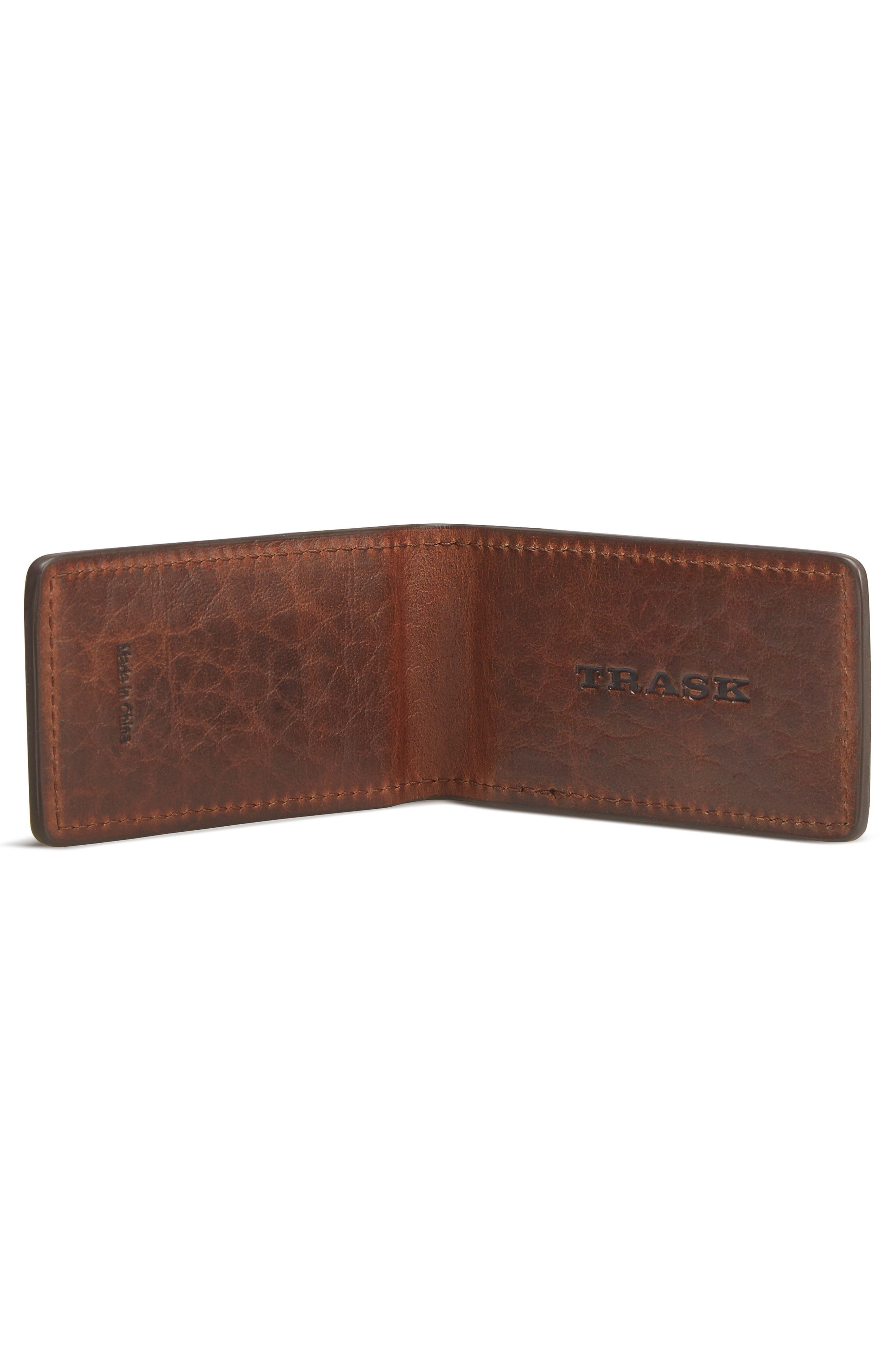 Leather Money Clip,                             Alternate thumbnail 2, color,                             Cognac