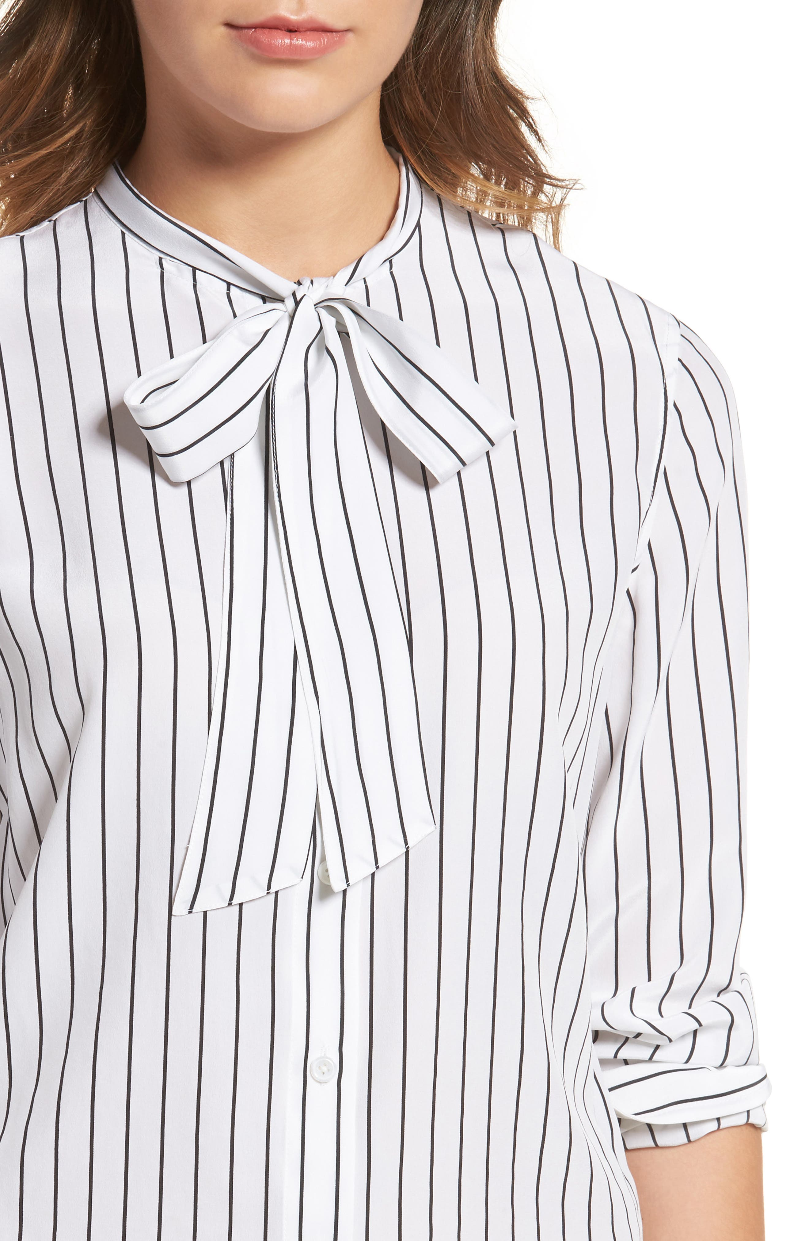Claire Stripe Silk Shirt,                             Alternate thumbnail 4, color,                             True White / True Black Stripe