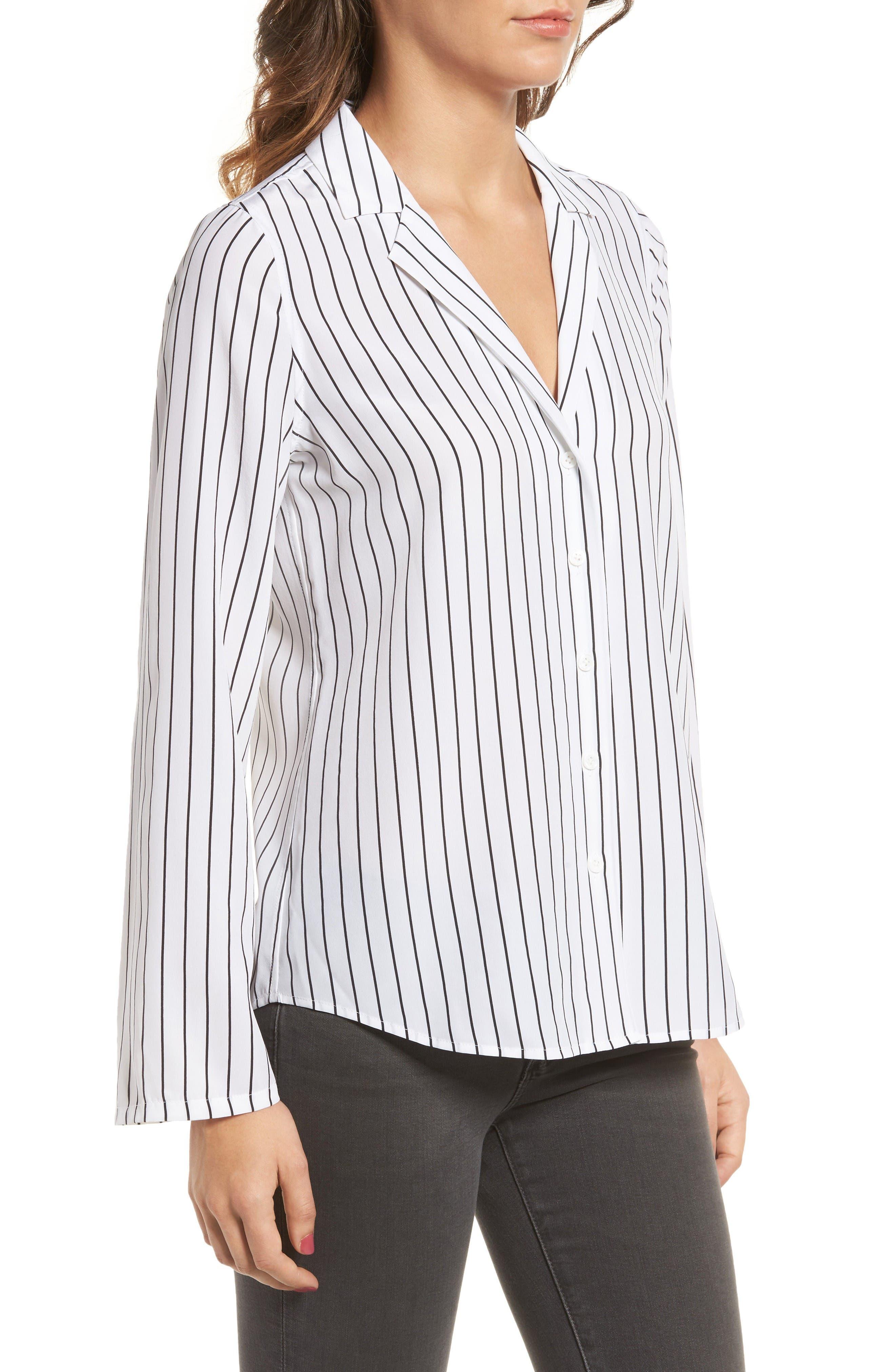Avery Silk Shirt,                             Alternate thumbnail 3, color,                             True White / True Black Stripe