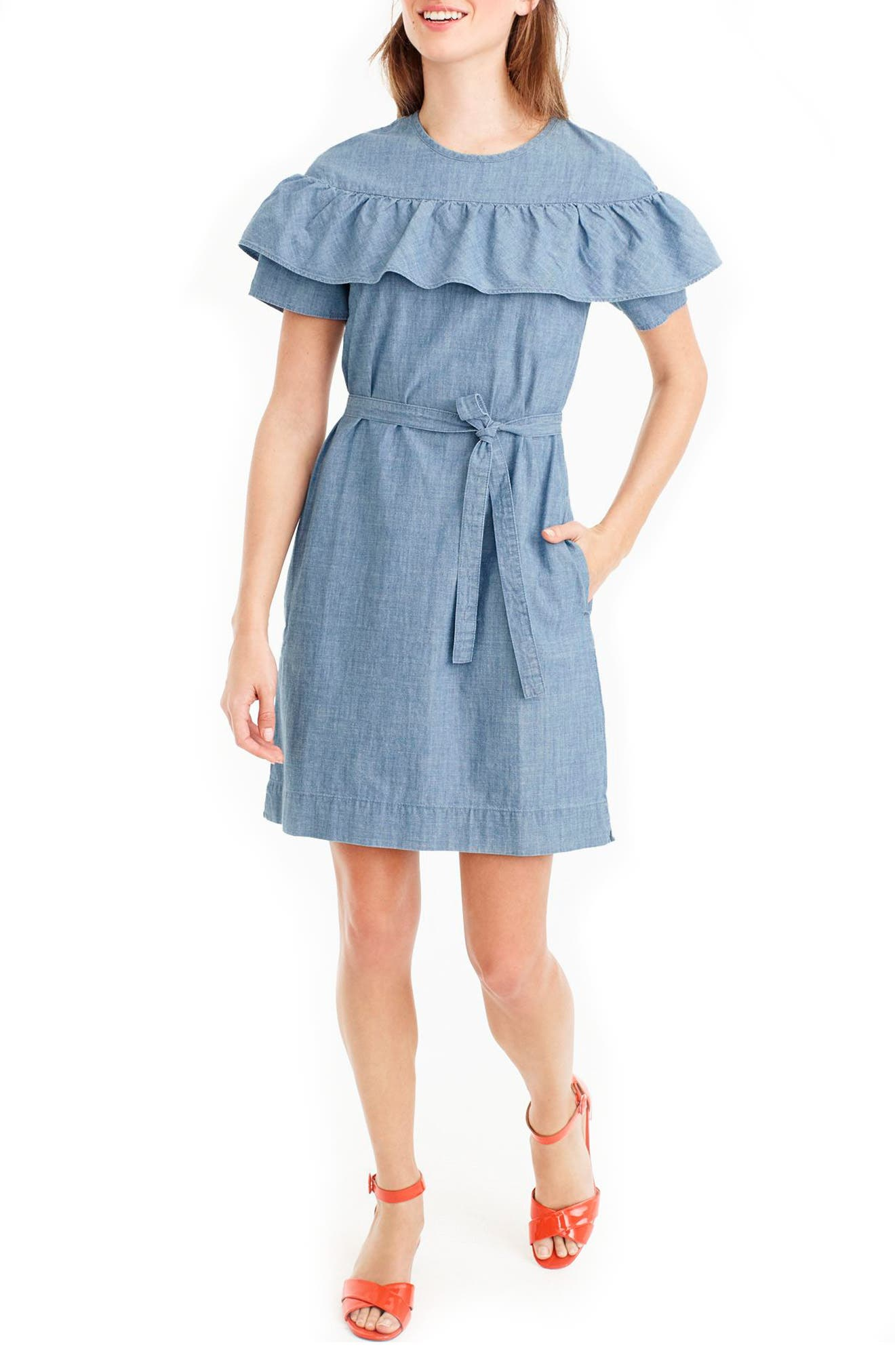 Chambray Maternity Dress Light Blue Ombre Denim Maternity