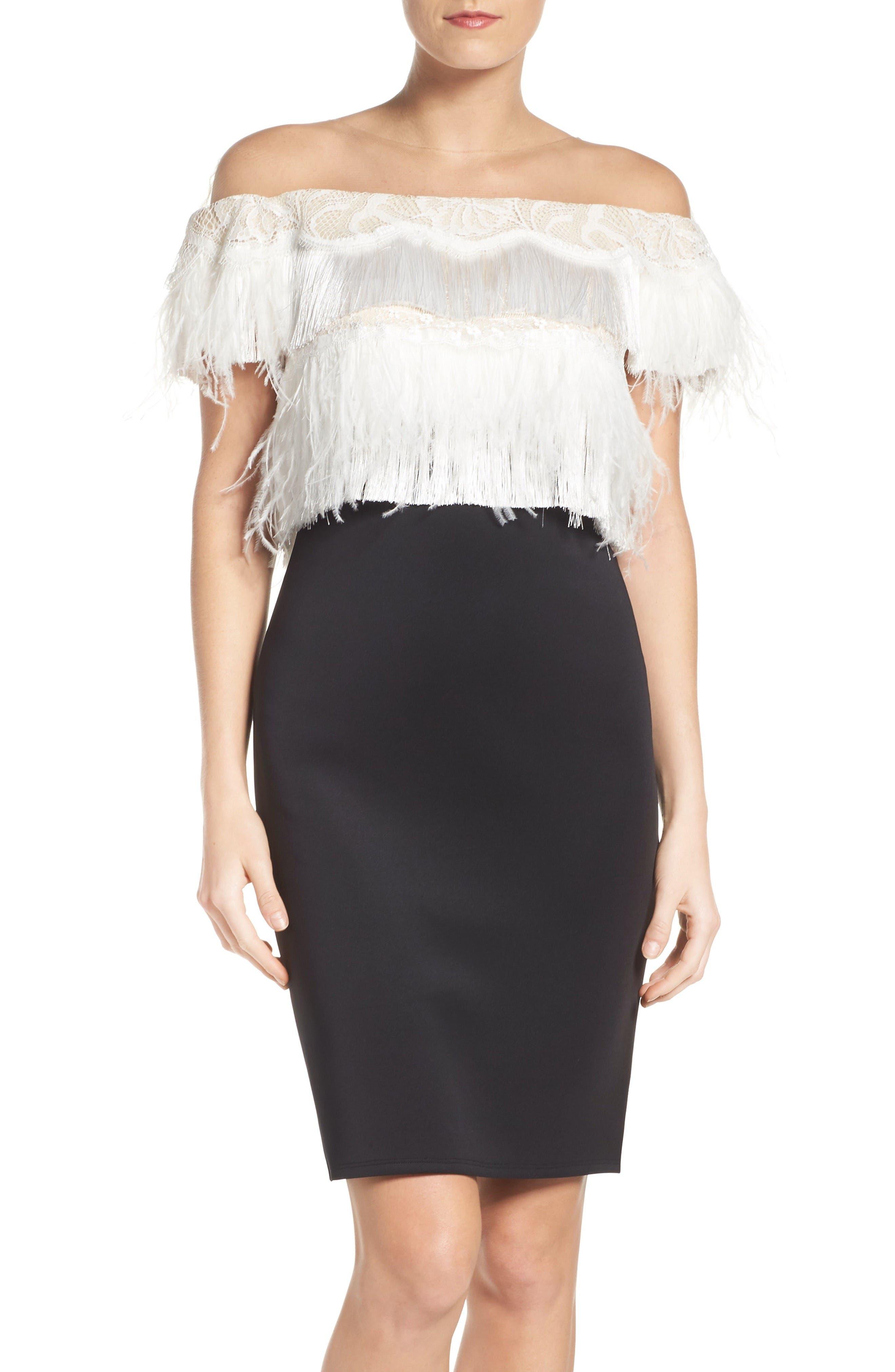 Off the Shoulder Sheath Dress,                         Main,                         color, Black/ Ivory