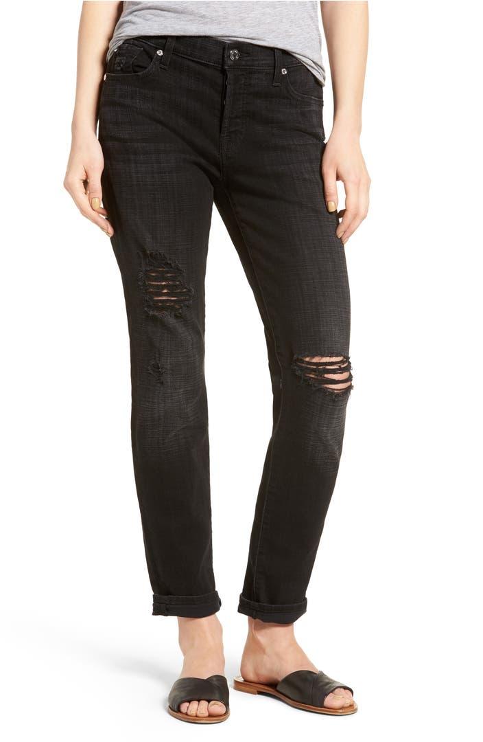 7 For All Mankindu00ae Josefina Boyfriend Jeans (Black Ocean Broken Twill) | Nordstrom