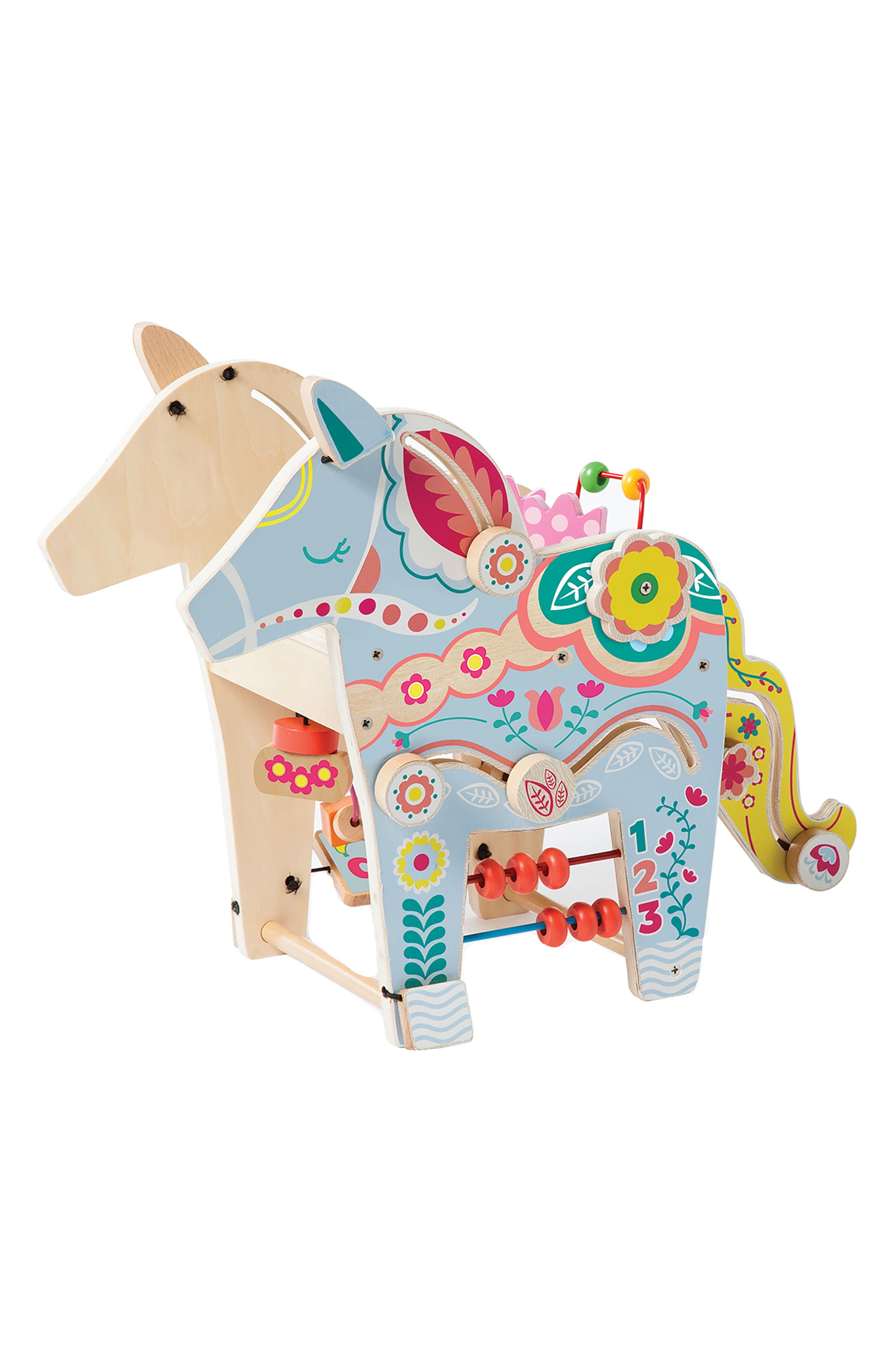 Wooden Playful Pony Activity Center,                         Main,                         color, Blue