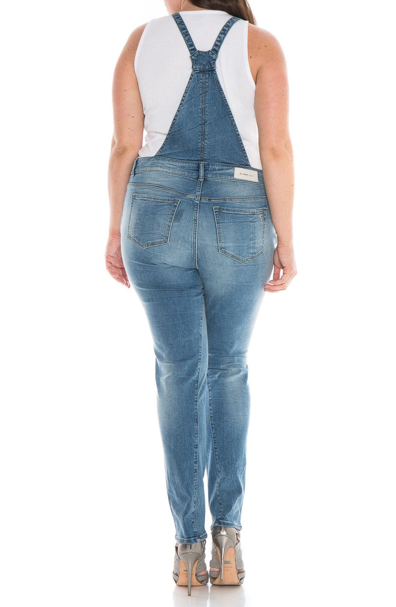 Alternate Image 2  - SLINK Jeans Racerback Overalls (Anna) (Plus Size)