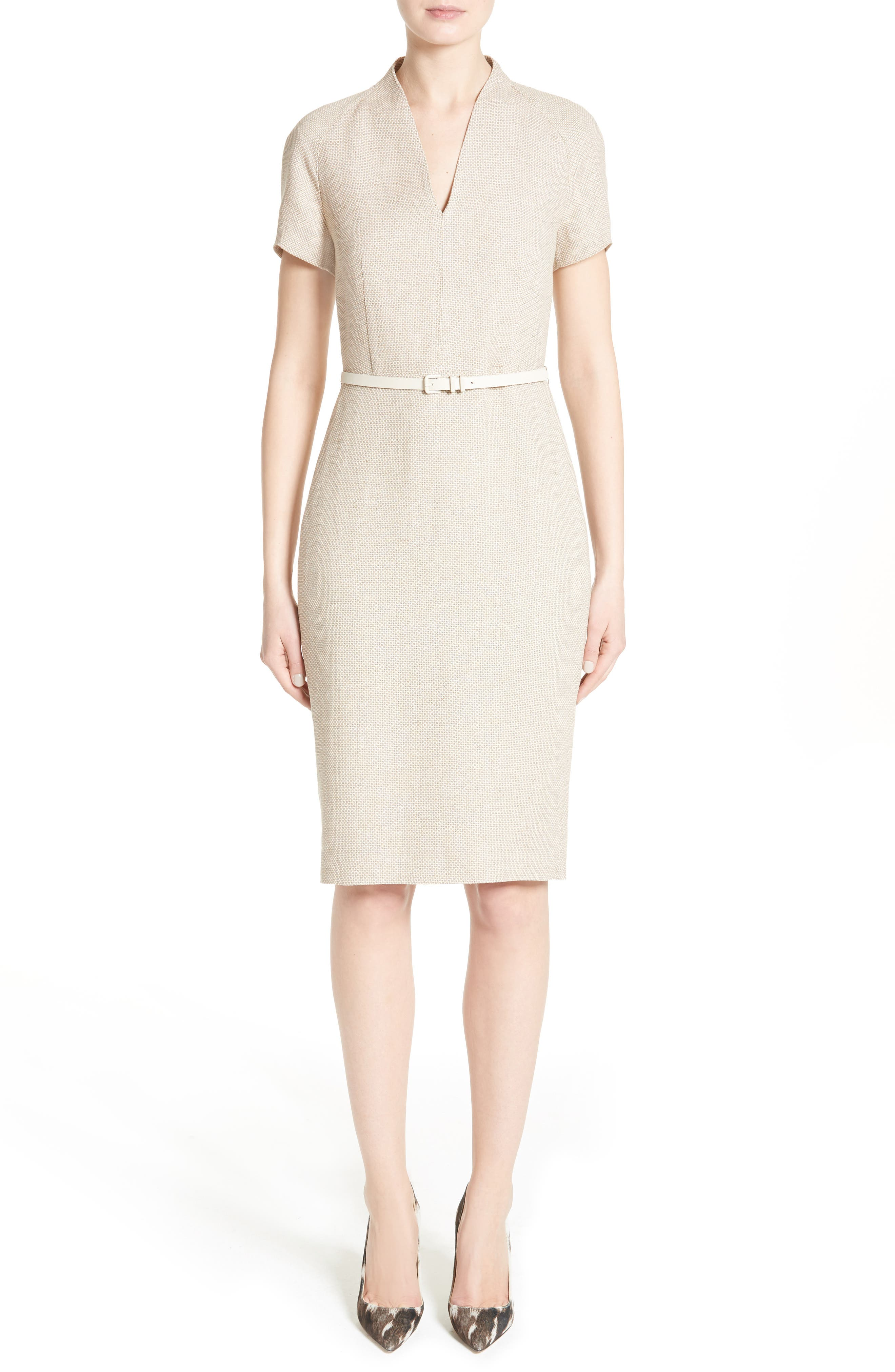 Main Image - Max Mara Azeglio Belted Linen Sheath Dress