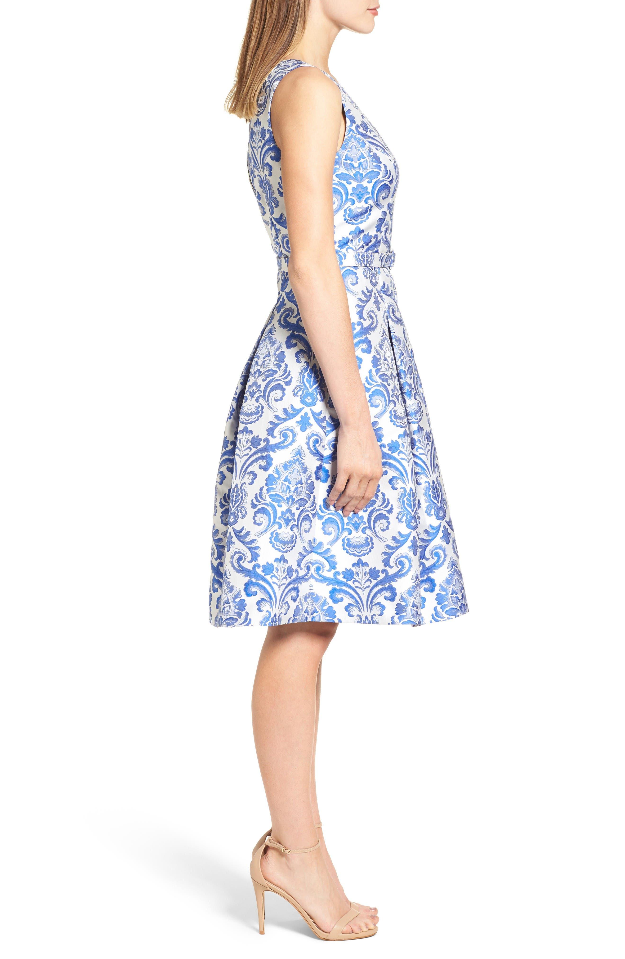 Alternate Image 4  - Eliza J Jacquard Fit & Flare Dress (Regular & Petite)