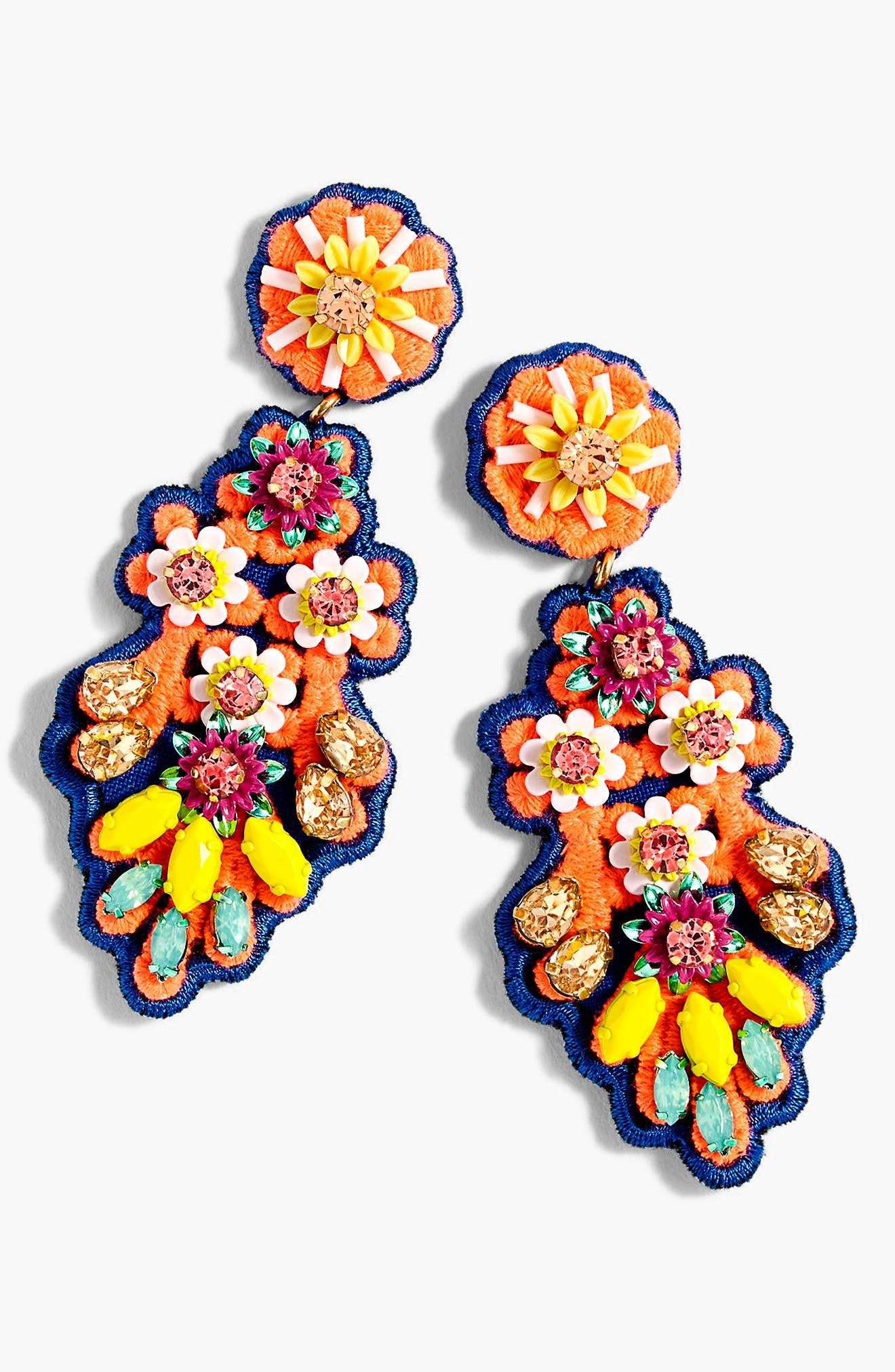Embroidered Crystal Earrings,                         Main,                         color, Orange Multi