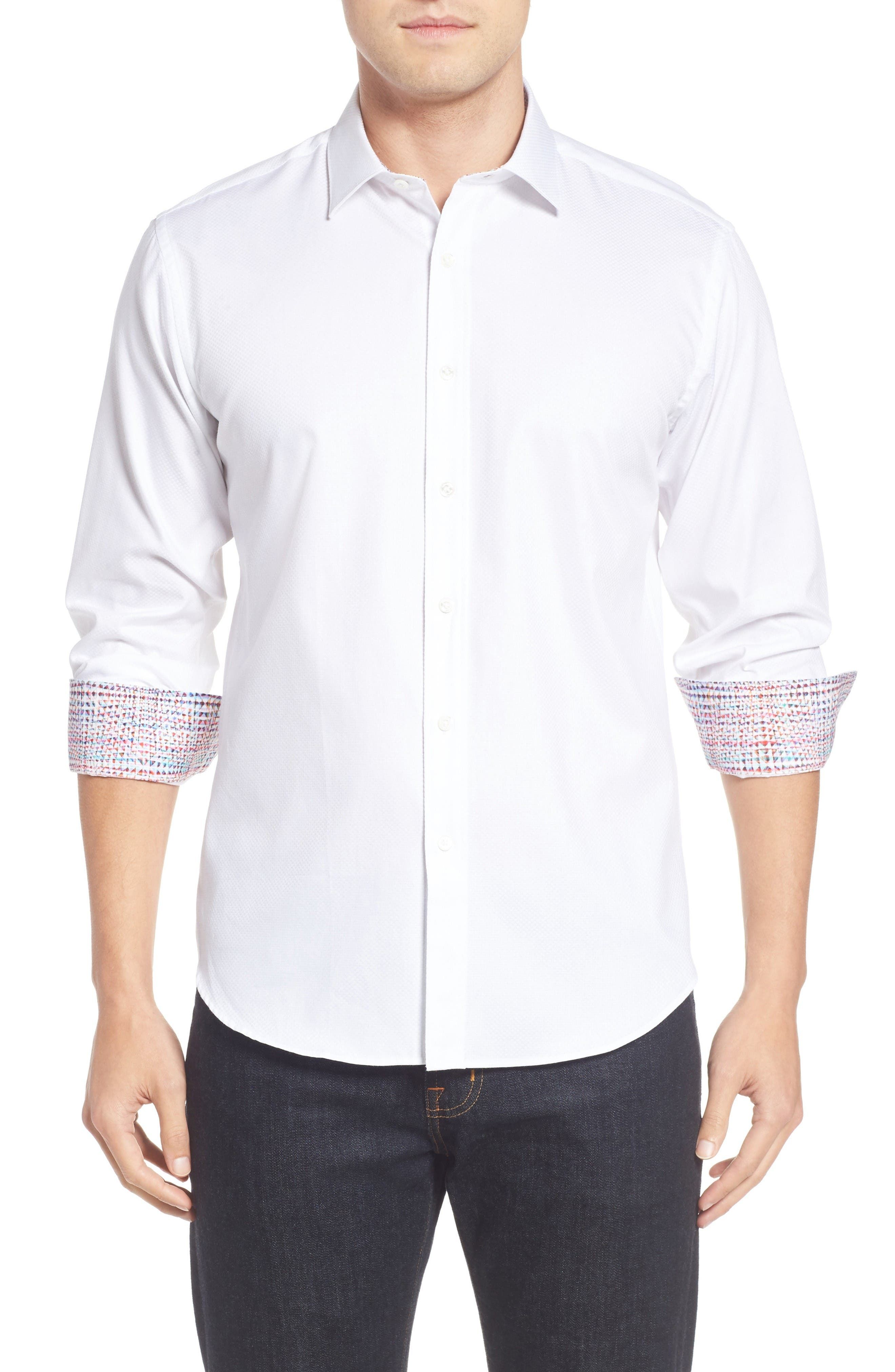 Main Image - Bugatchi Shaped Fit Textured Sport Shirt