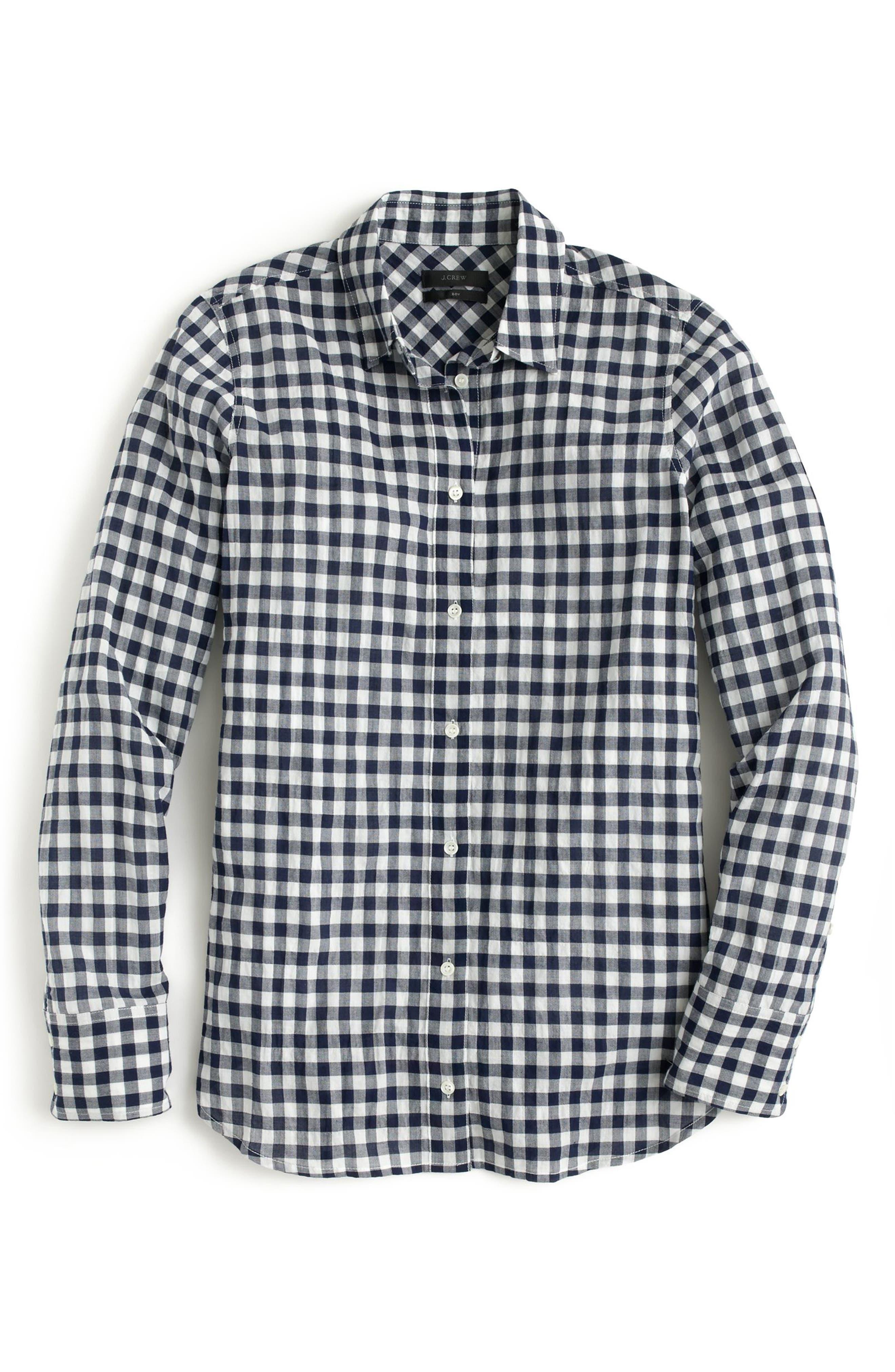 Alternate Image 4  - J.Crew Crinkle Gingham Boy Shirt (Regular & Petite)