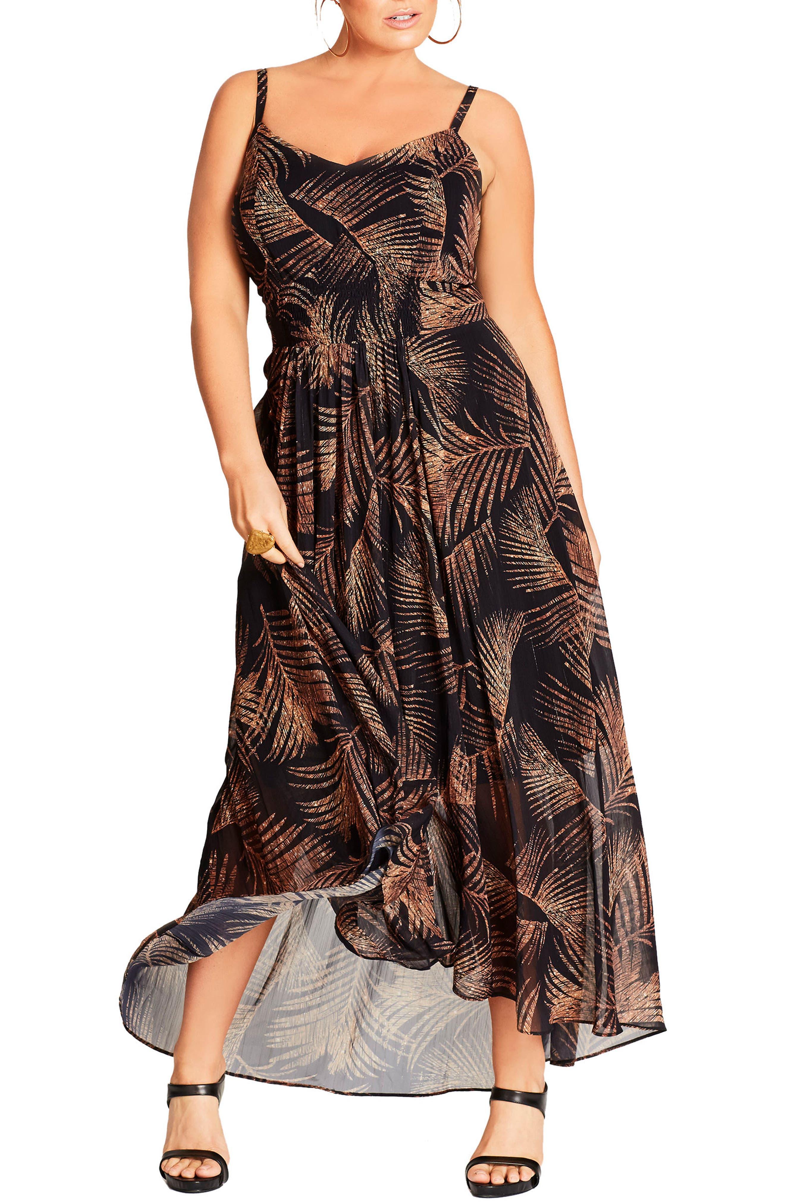 Party Time Print Chiffon Maxi Dress,                             Main thumbnail 1, color,                             Gold Shimmer Palm