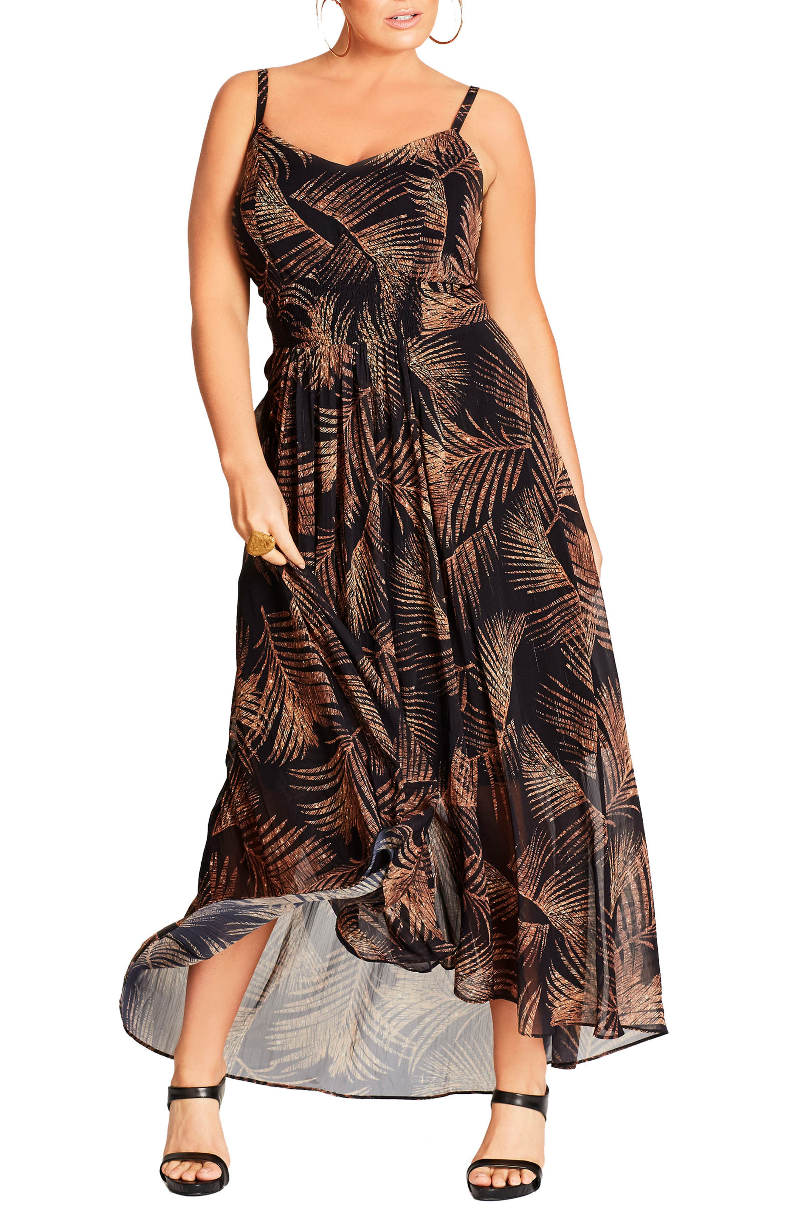Party Time Print Chiffon Maxi Dress,                         Main,                         color, Gold Shimmer Palm