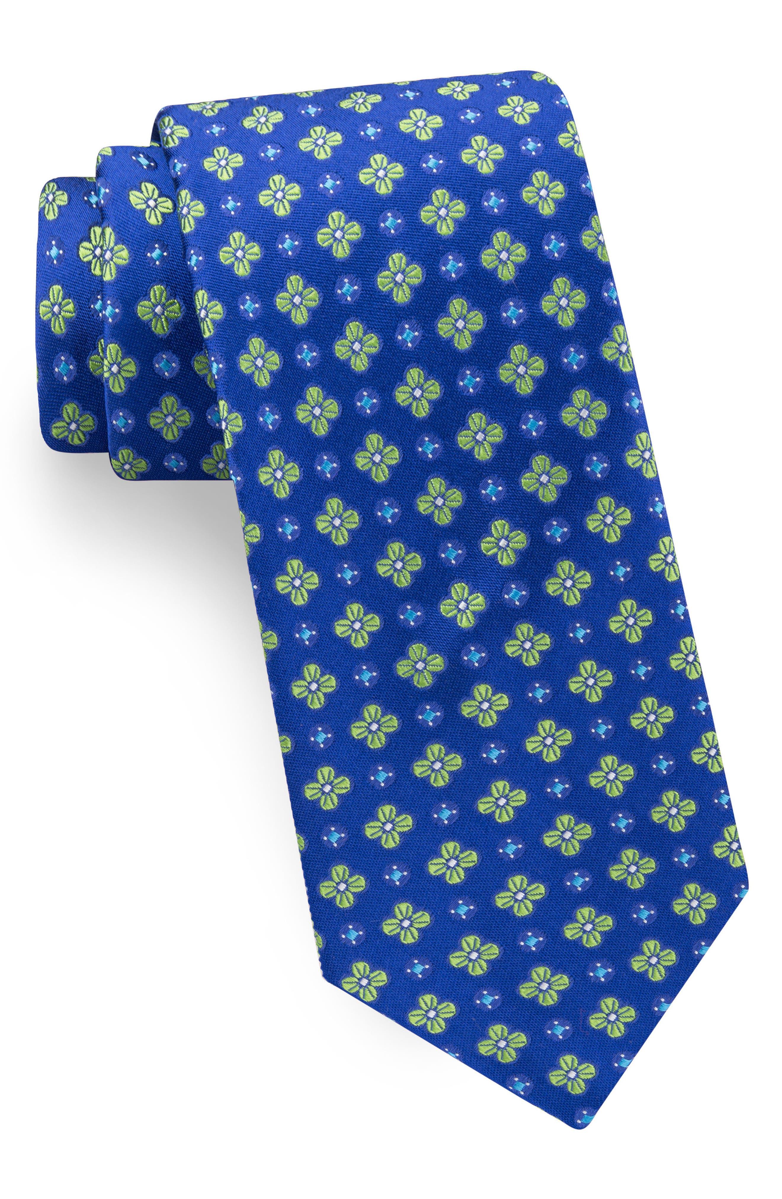 Lansbury Floral Silk Tie,                         Main,                         color, Royal Blue