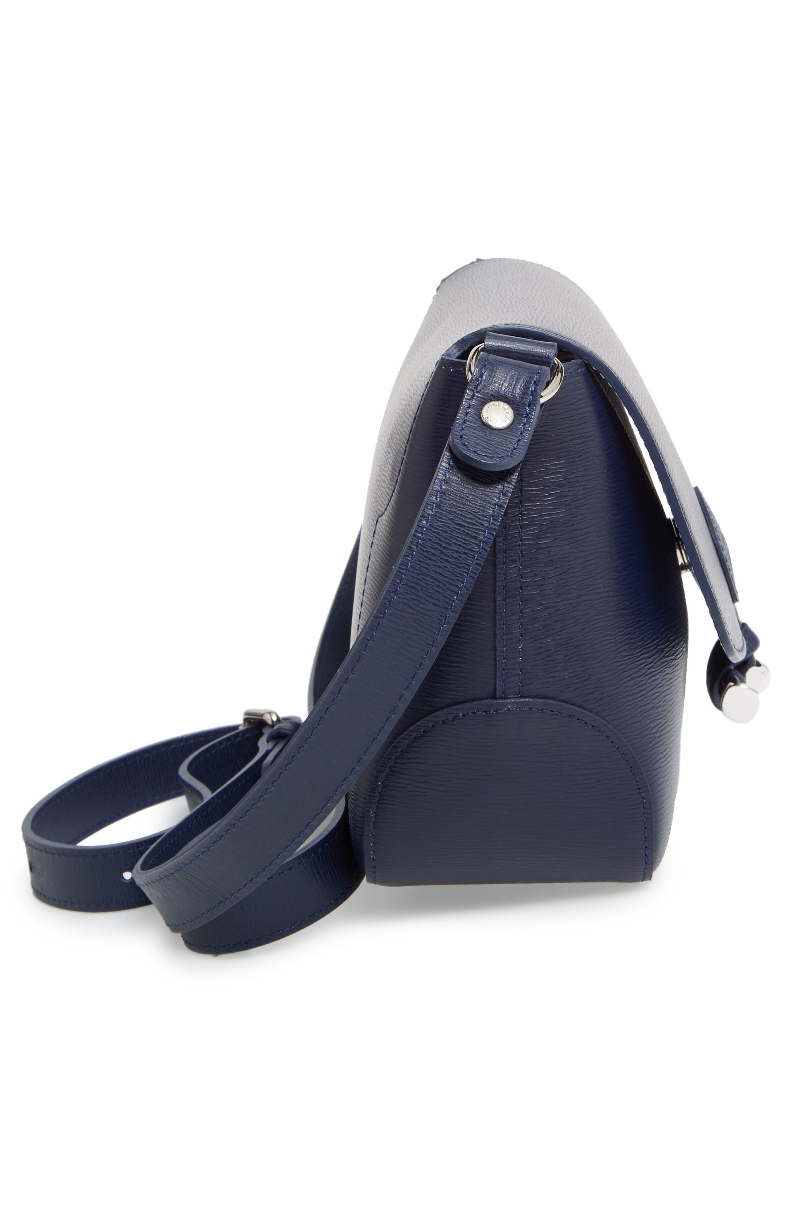 Roseau Leather Crossbody Bag,                             Alternate thumbnail 5, color,                             Navy
