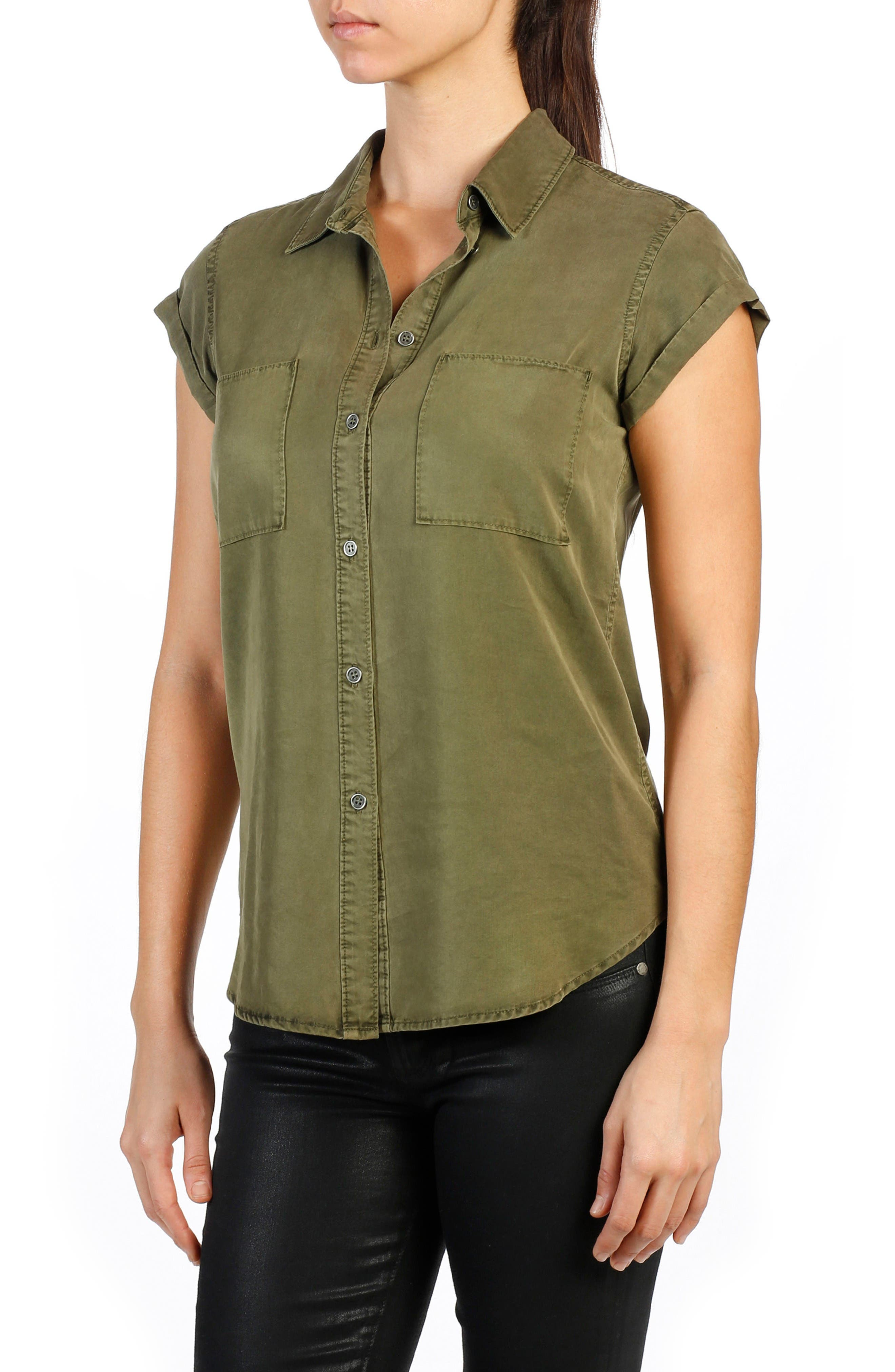 Mila Chambray Shirt,                         Main,                         color, Desert Olive