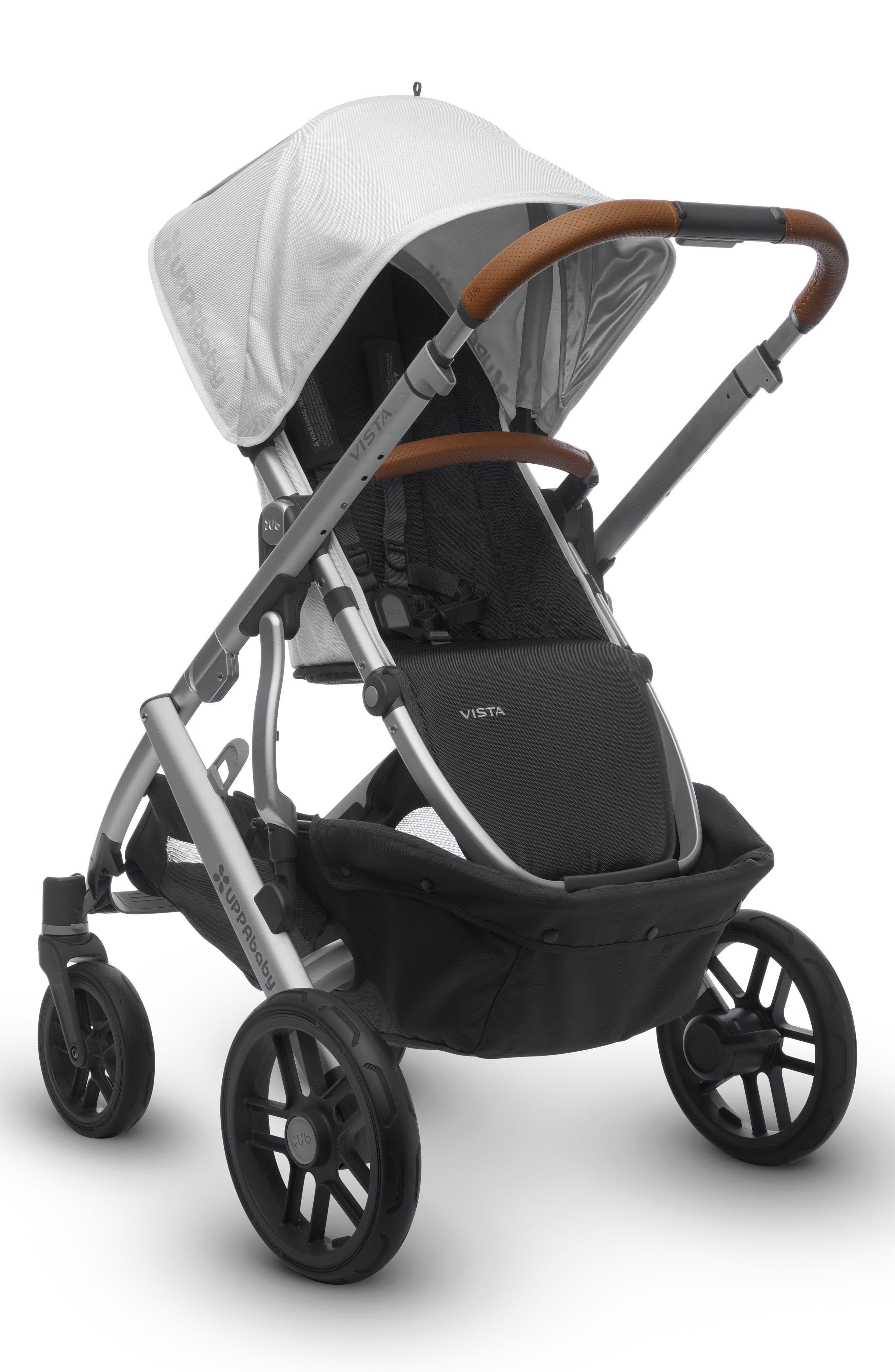 2017 VISTA Aluminum Frame Convertible Stroller with Bassinet & Toddler Seat,                             Alternate thumbnail 3, color,                             White/ Silver