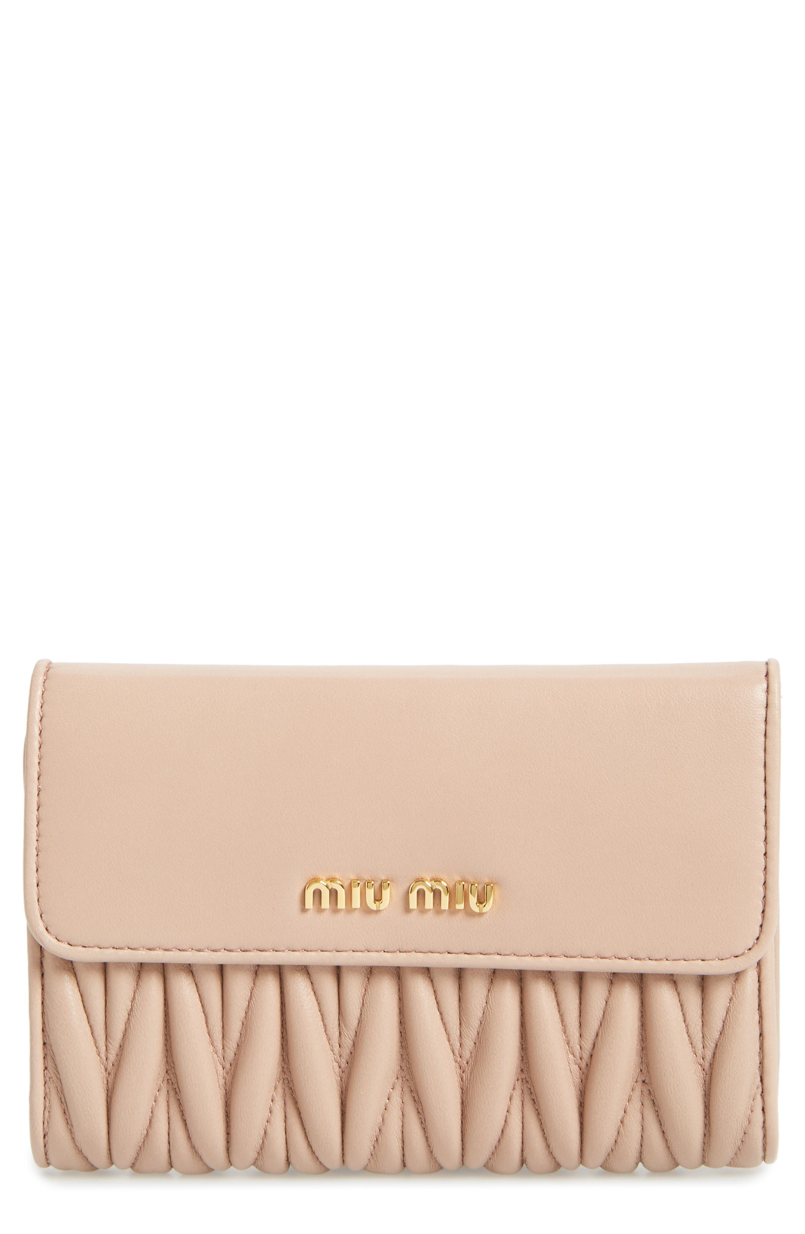 Alternate Image 1 Selected - Miu Miu Matelassé Leather French Wallet