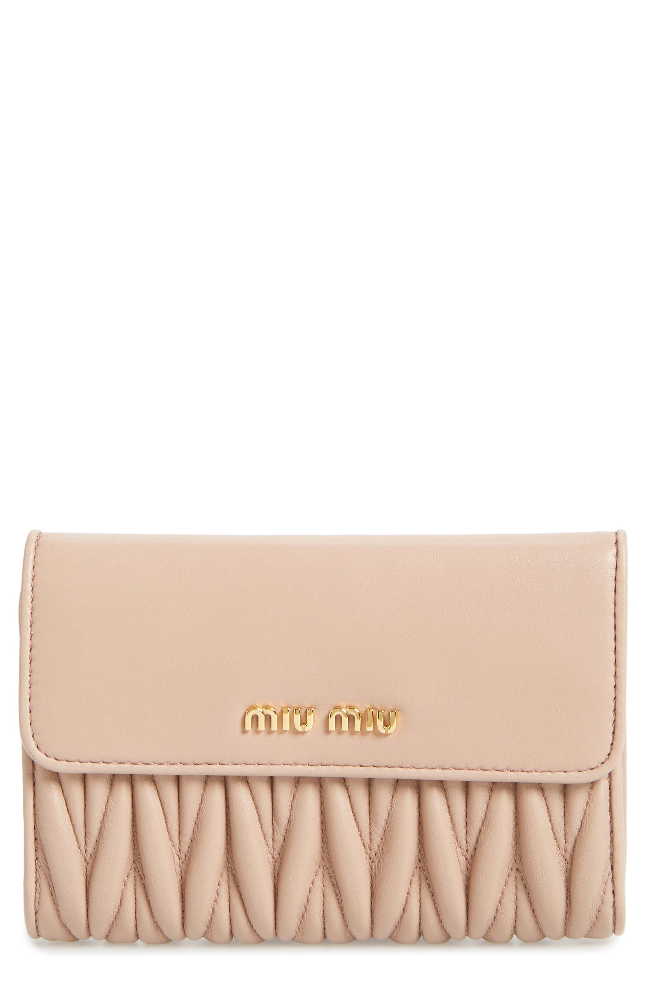 Matelassé Leather French Wallet,                         Main,                         color, Cammeo