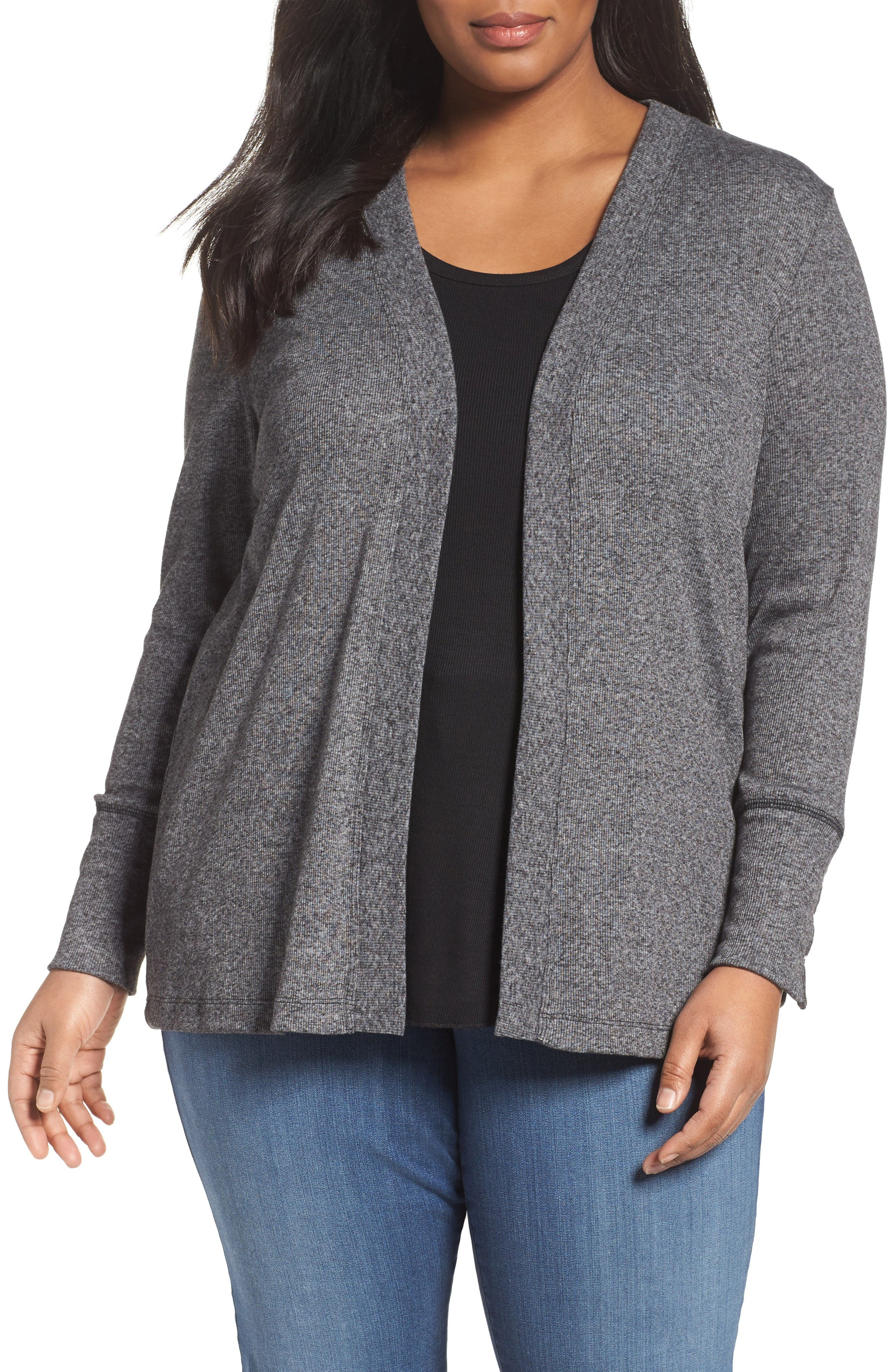 Alternate Image 1 Selected - MICHAEL Michael Kors Marled Open Cardigan (Plus Size)