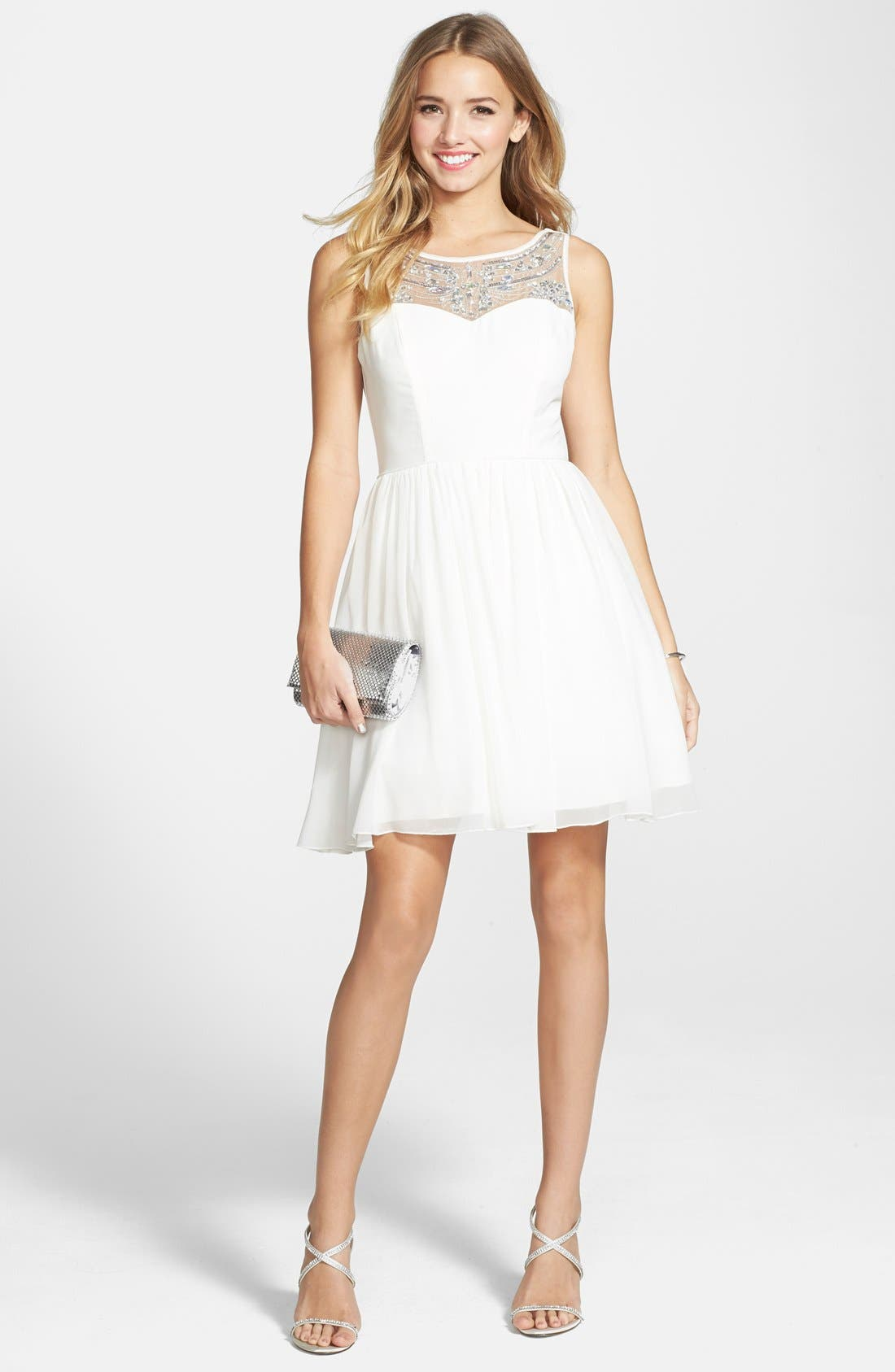 Alternate Image 1 Selected - Way-In 'Adele' Embellished Illusion Yoke Skater Dress (Juniors)