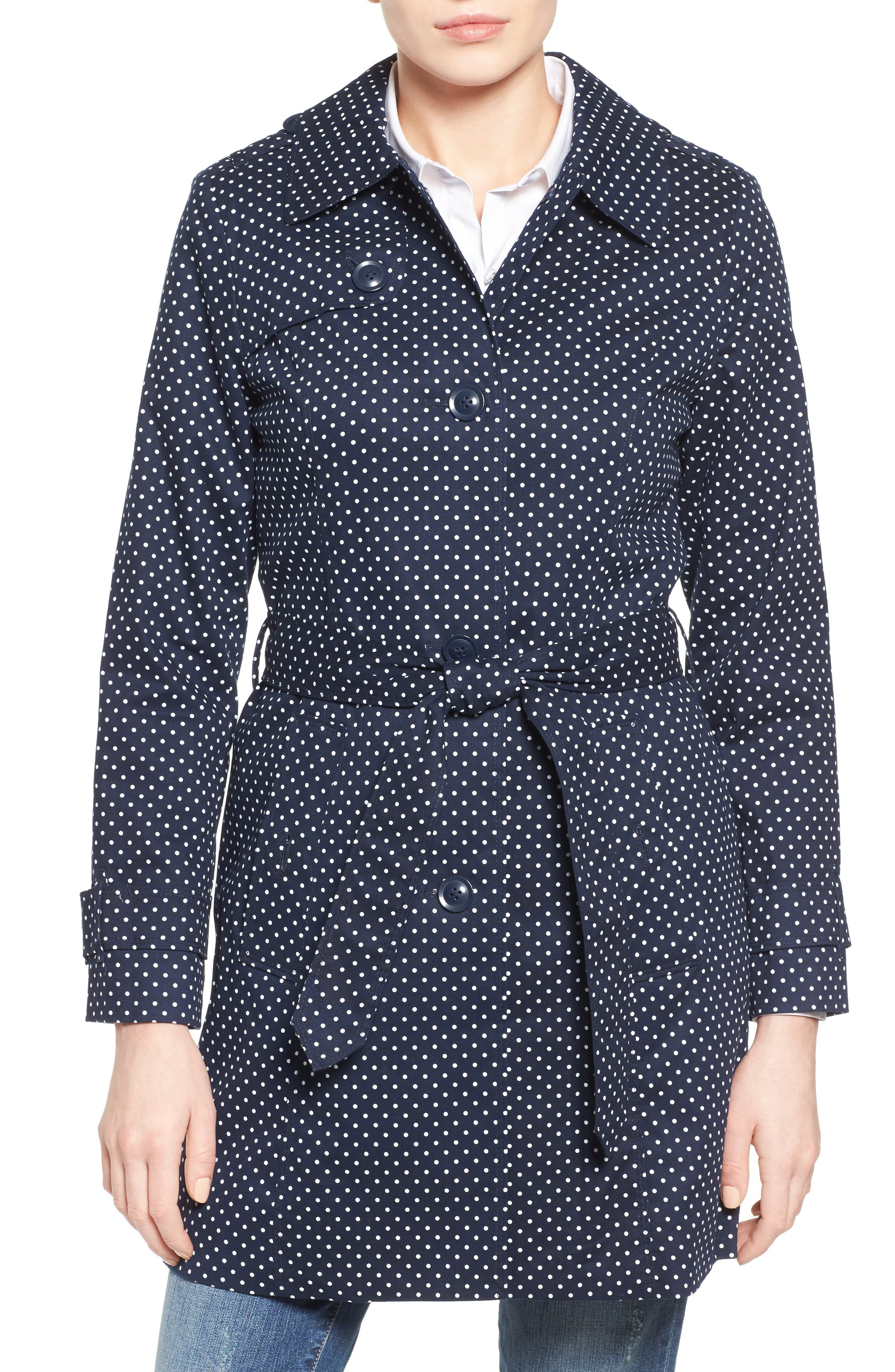 London Fog Polka Dot Single Breasted Trench Coat (Regular & Petite)
