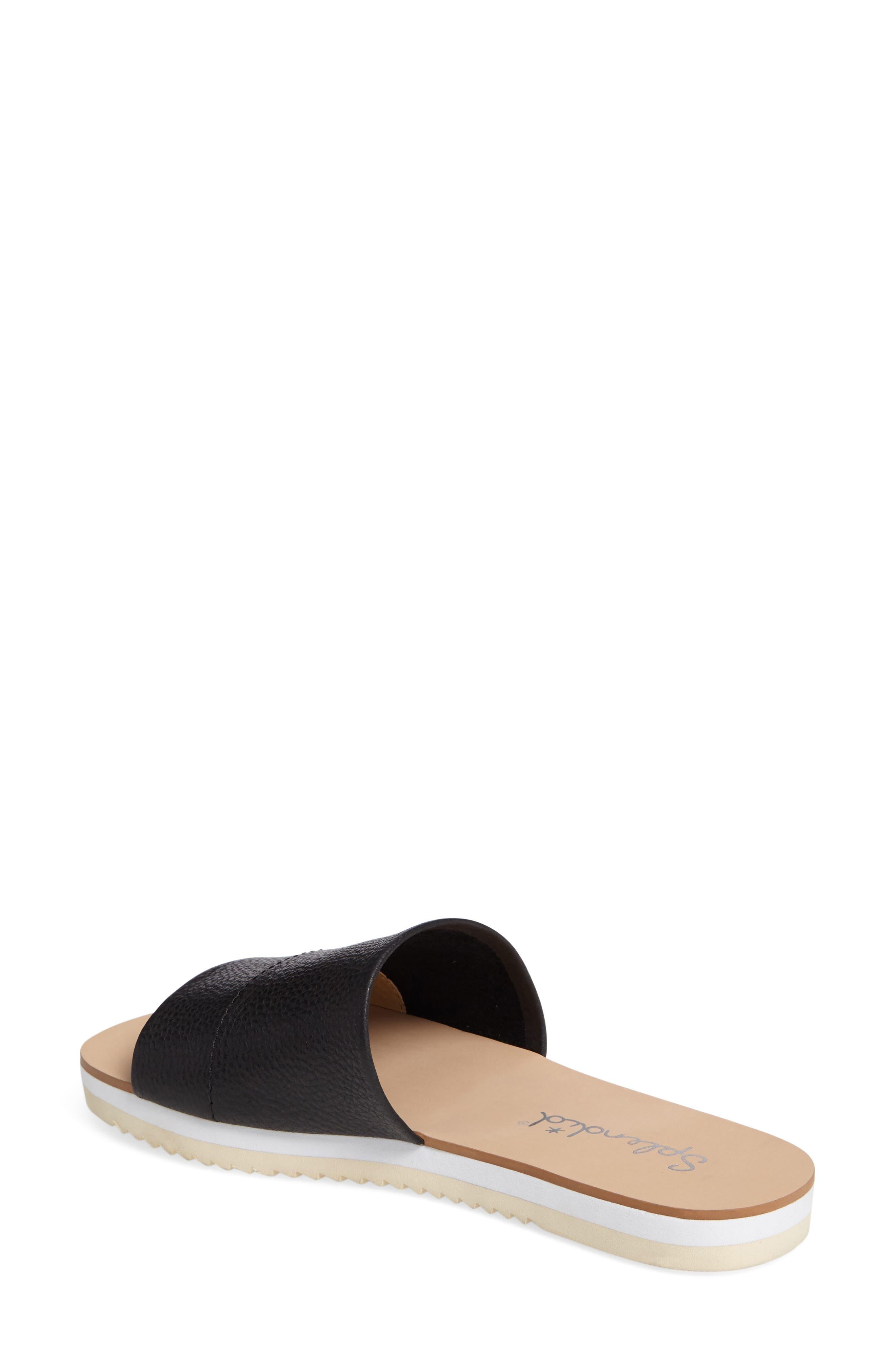 Jazz Slide Sandal,                             Alternate thumbnail 2, color,                             Black Leather