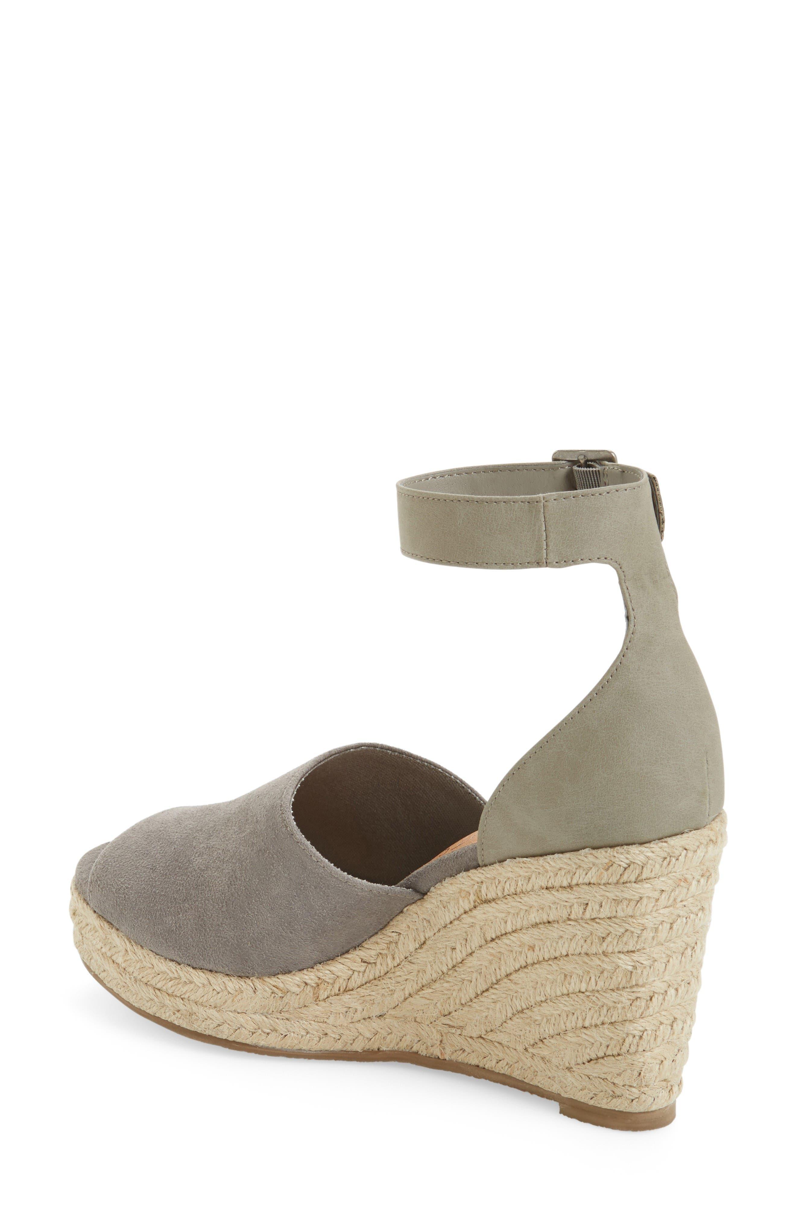 Flamingo Wedge Sandal,                             Alternate thumbnail 2, color,                             Grey Leather