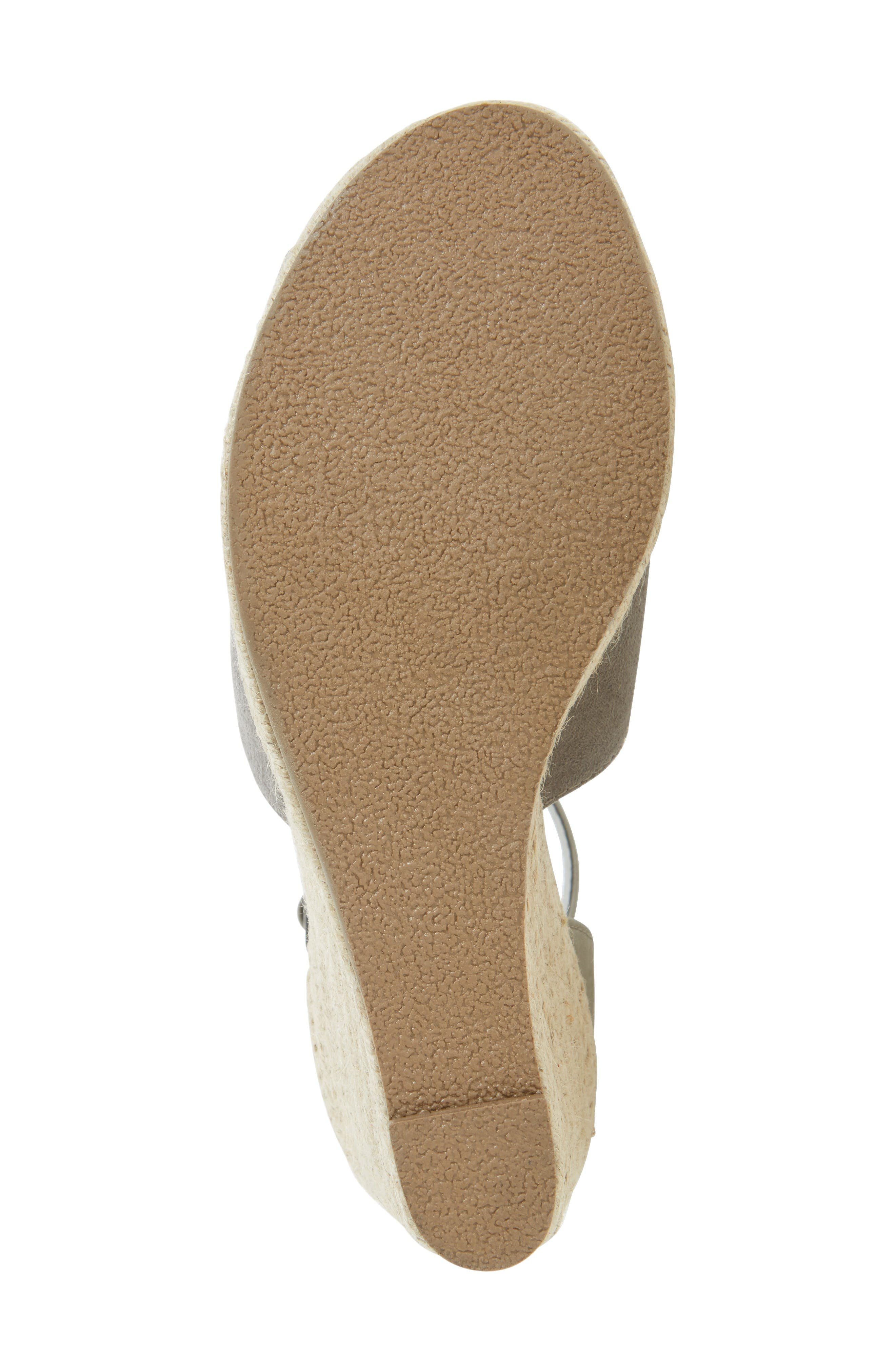 Flamingo Wedge Sandal,                             Alternate thumbnail 4, color,                             Grey Leather